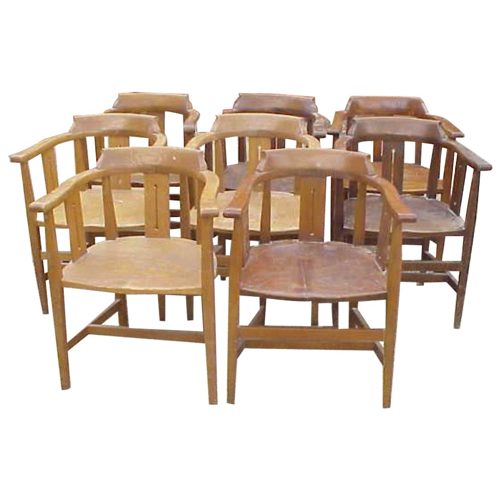 Shapland & Petter Eight Arts & Crafts Oak Armchairs with Shaped Headrest & Seats
