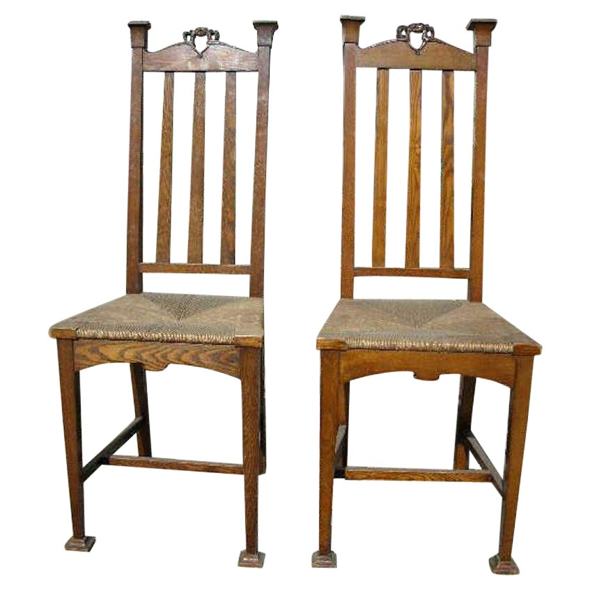 Shapland & Petter, A Pair Of English Arts & Crafts Ash & Rush Seat Side Chairs