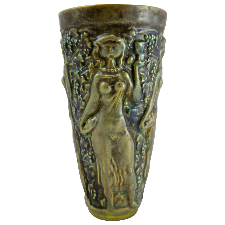 Art Nouveau Iridescent Eosin Glazed Ceramic Vase by Zsolnay, 1910s