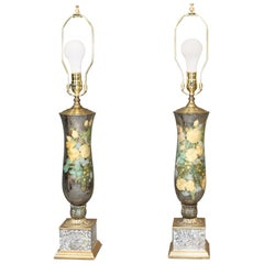 Pair of Fornasetti Style Silver Leaf Reverse Painted Églomisé Lamps with Bronze