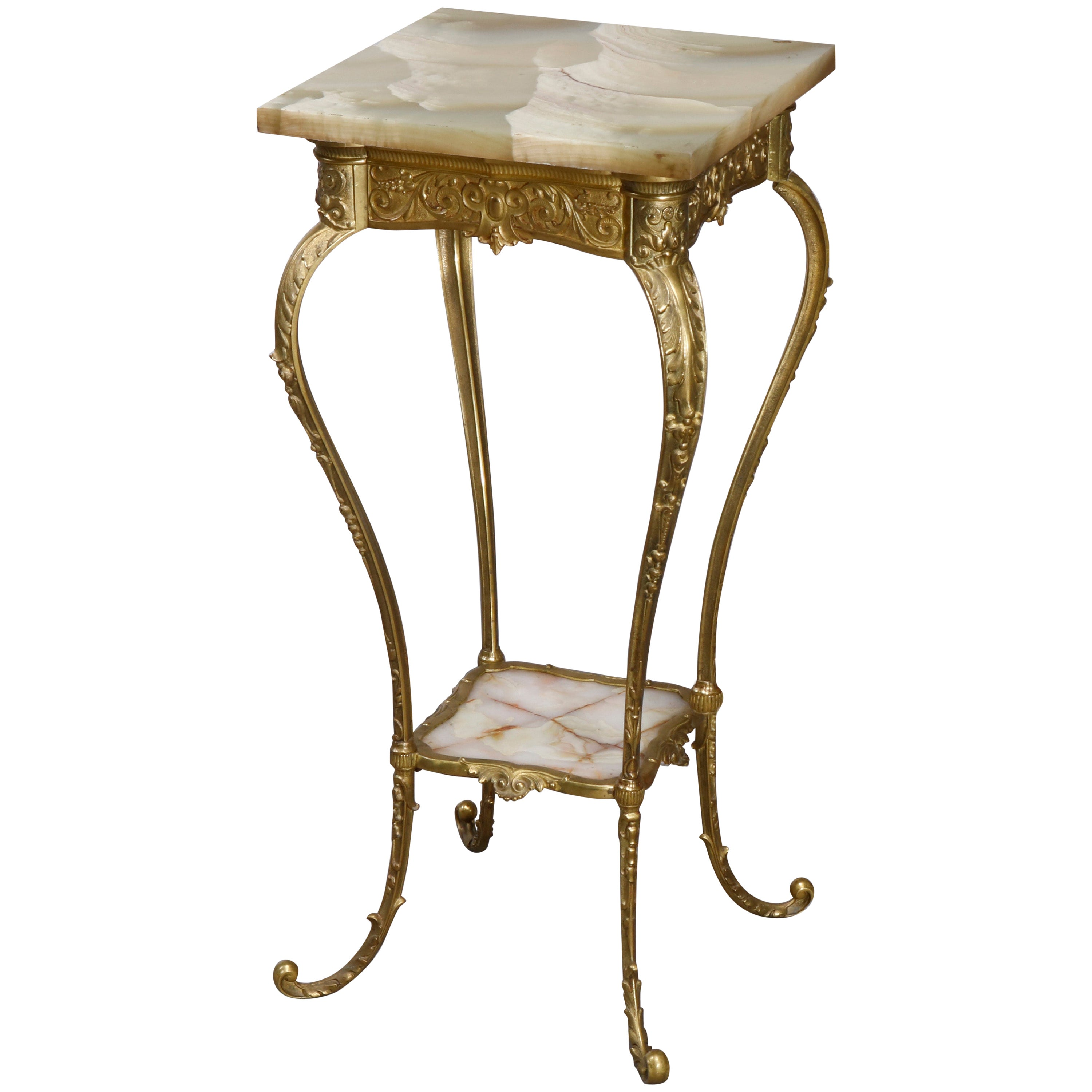 Antique French Victorian Bronze and Green Onyx Fern Stand, circa 1890