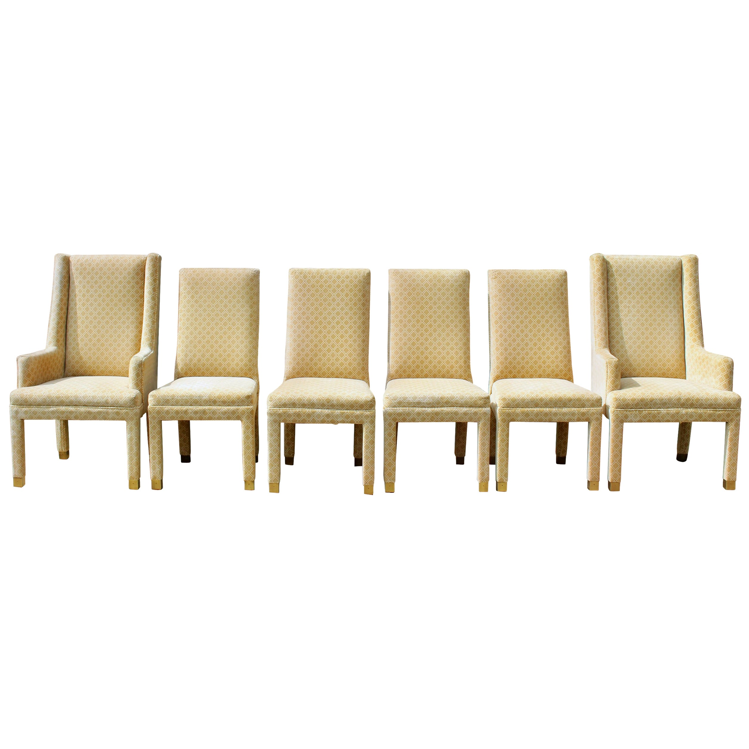 Set of 6 Henredon Parsons Style Upholstered Dining Chairs