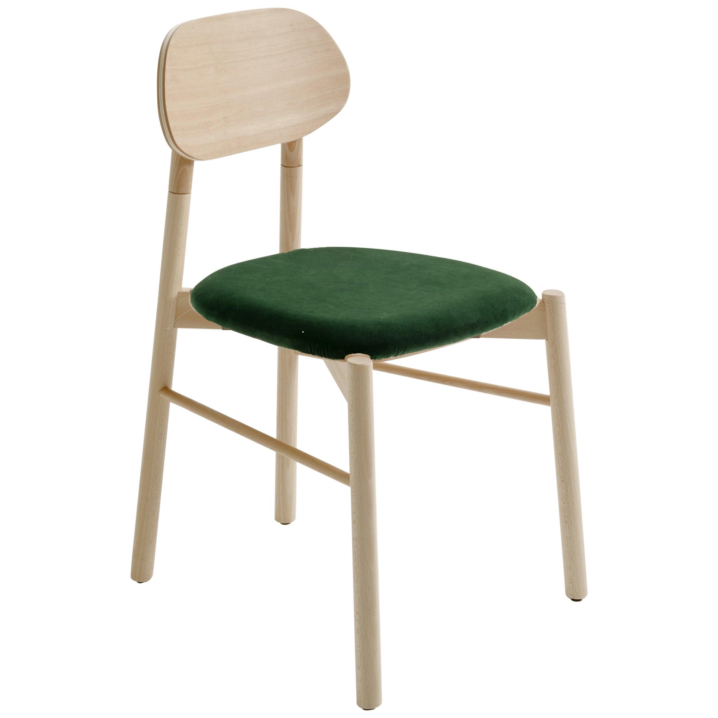 Bokken Chair Beechwood Upholstered with Emerald Green Fine Italian Velvet