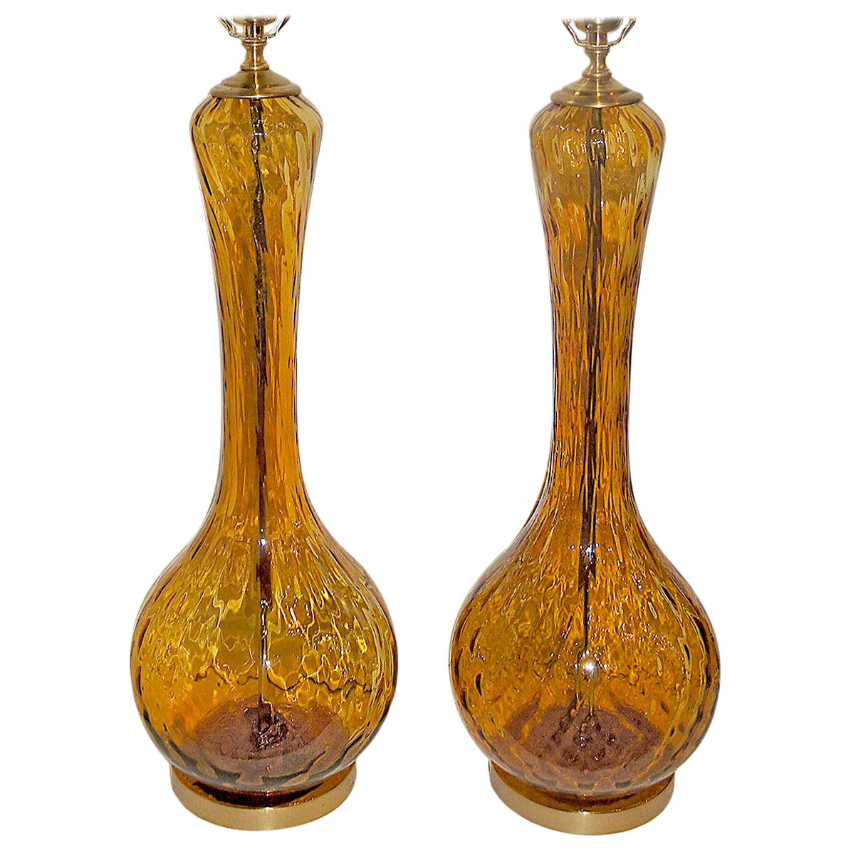 Pair of Amber Glass Table Lamps