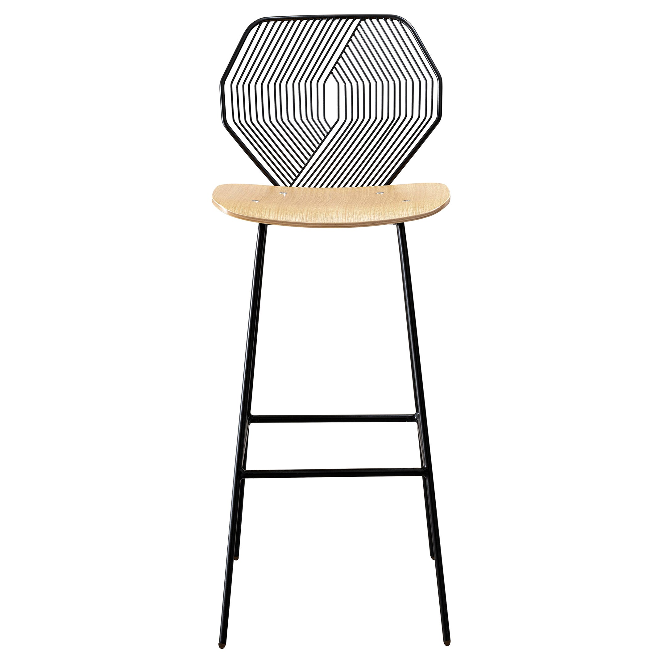Modern Wire Bar Stool with a Wood Seat, Wood and Wire Bar Stool in Black