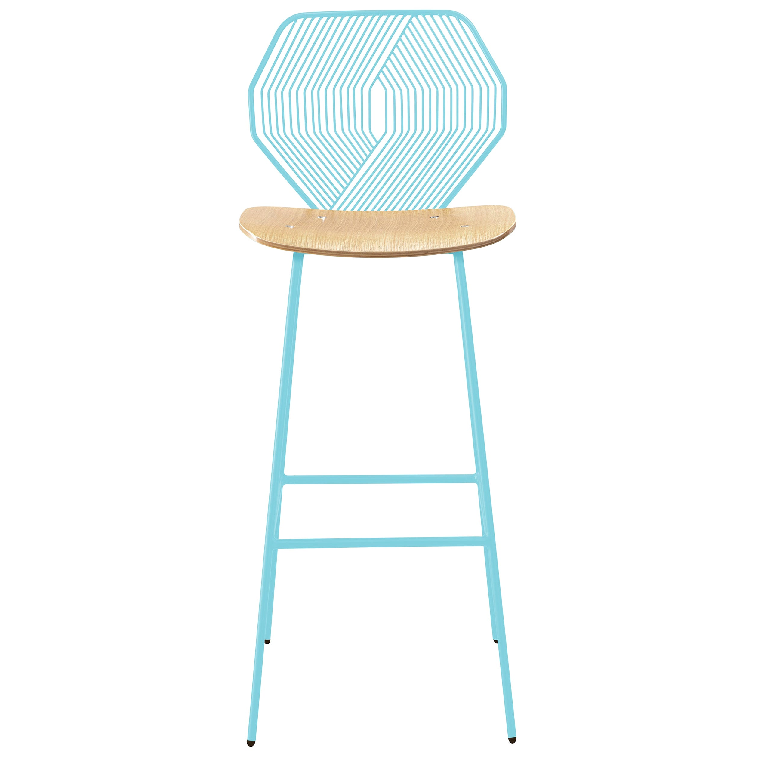 Modern Wire Bar Stool with a Wood Seat, Wood and Wire Bar Stool in Aqua