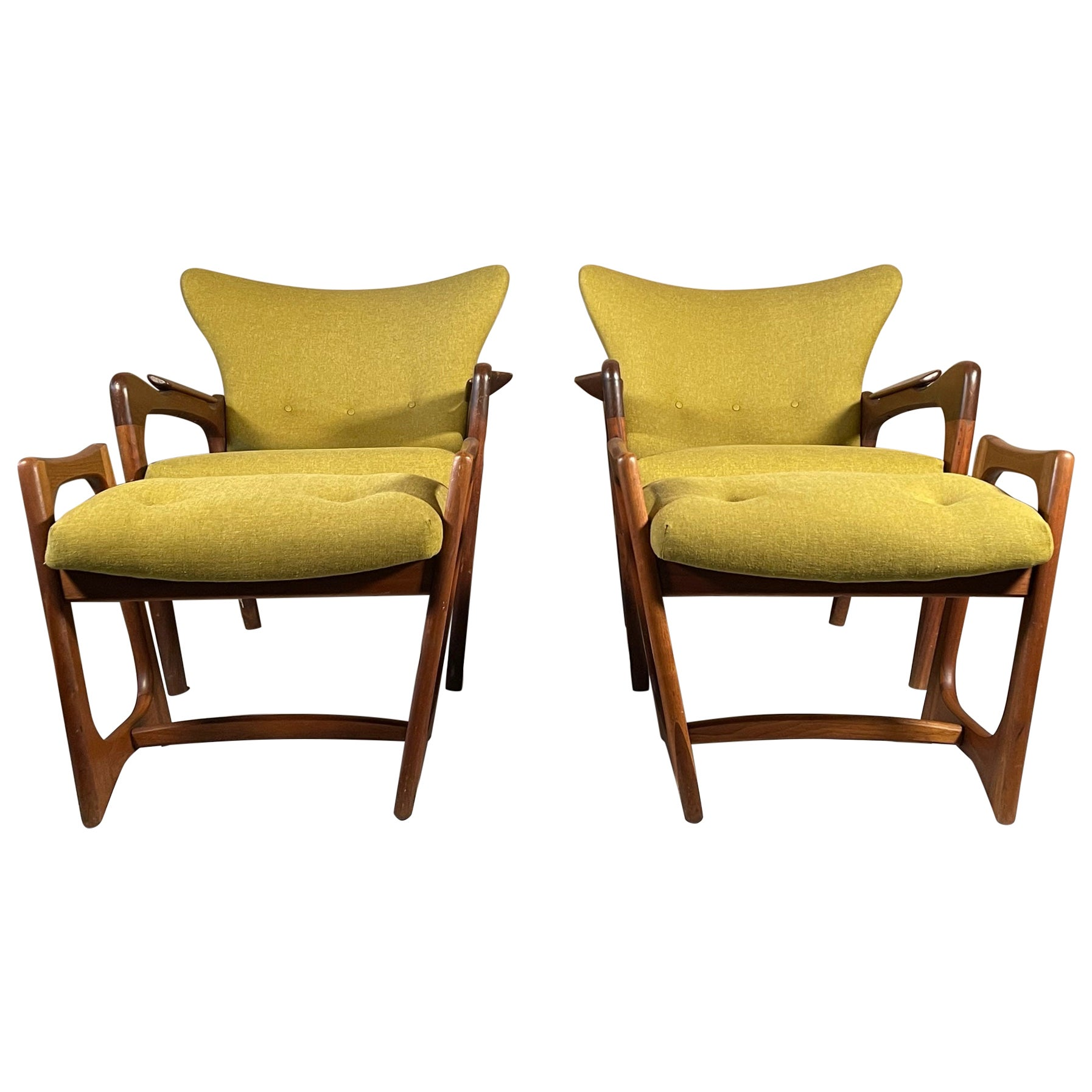 Unusual Adrian Pearsall Armchairs with Ottomans