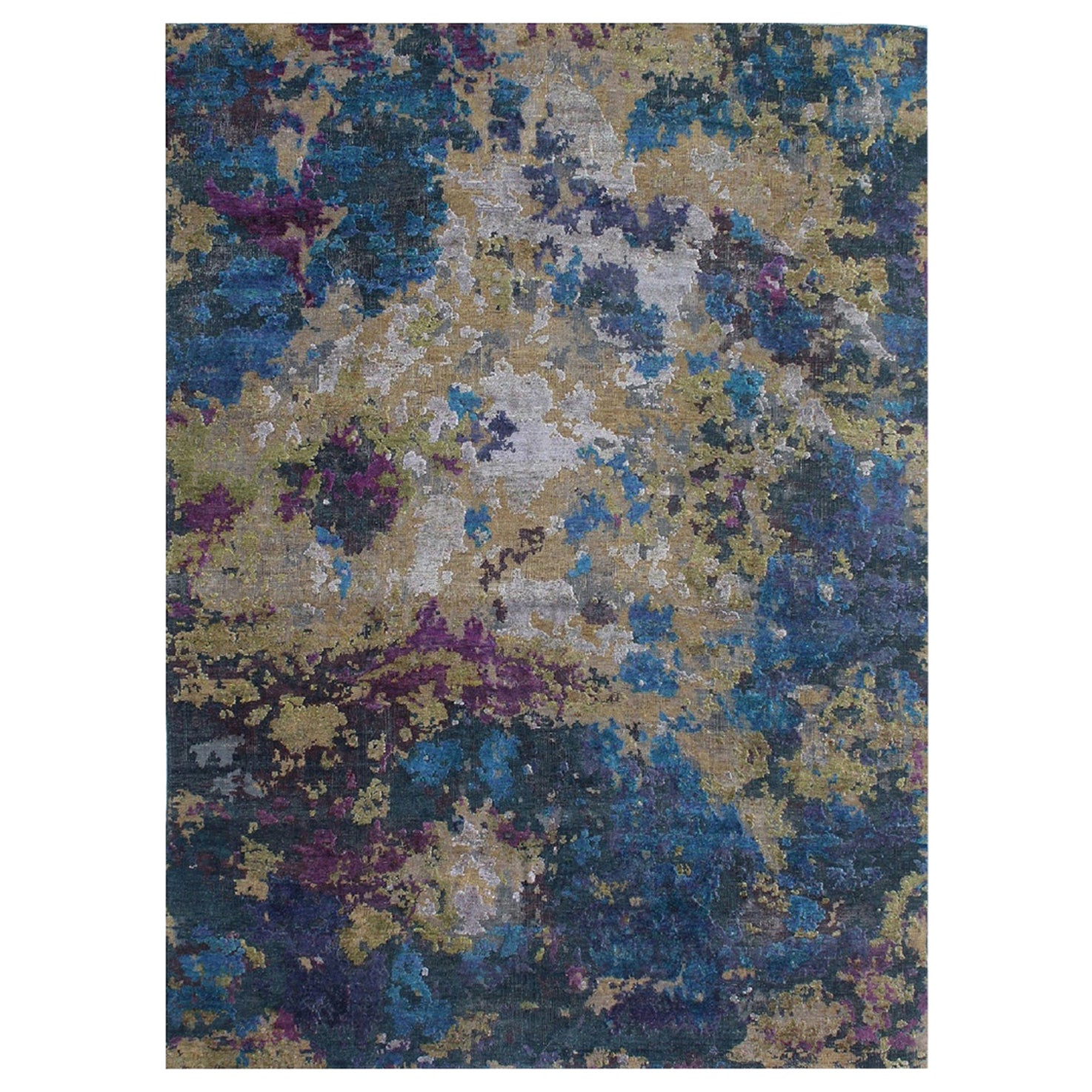 Postmodern Blue Green Purple Hand Knotted Wool and Silk Abstract Rug