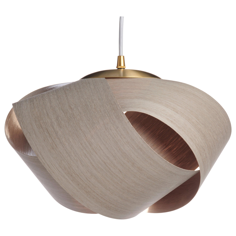 Scandinavian Modern gray wood pendant with brushed brass