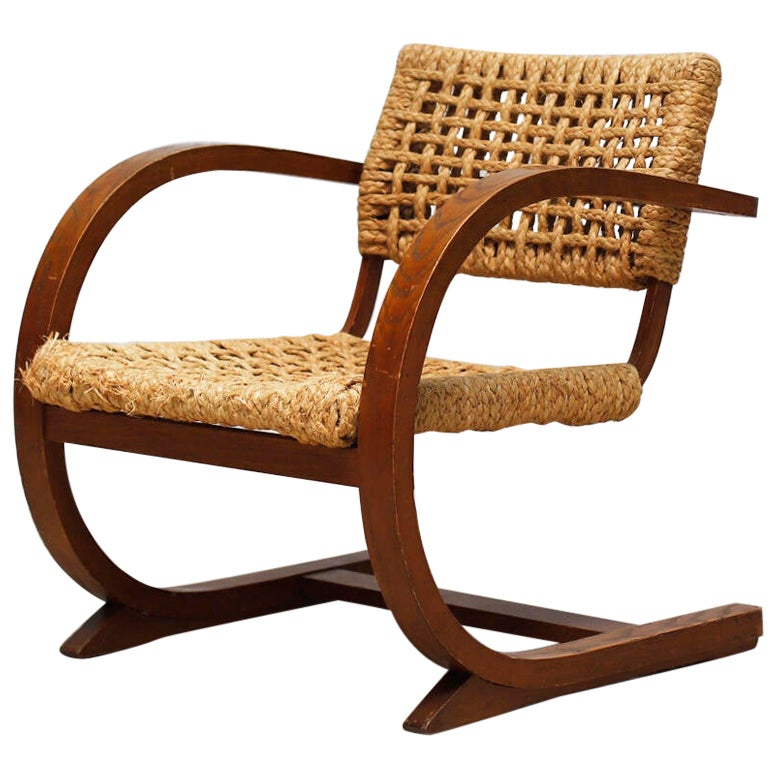 Audoux Minet Rope Armchair for Vibo, 1950s