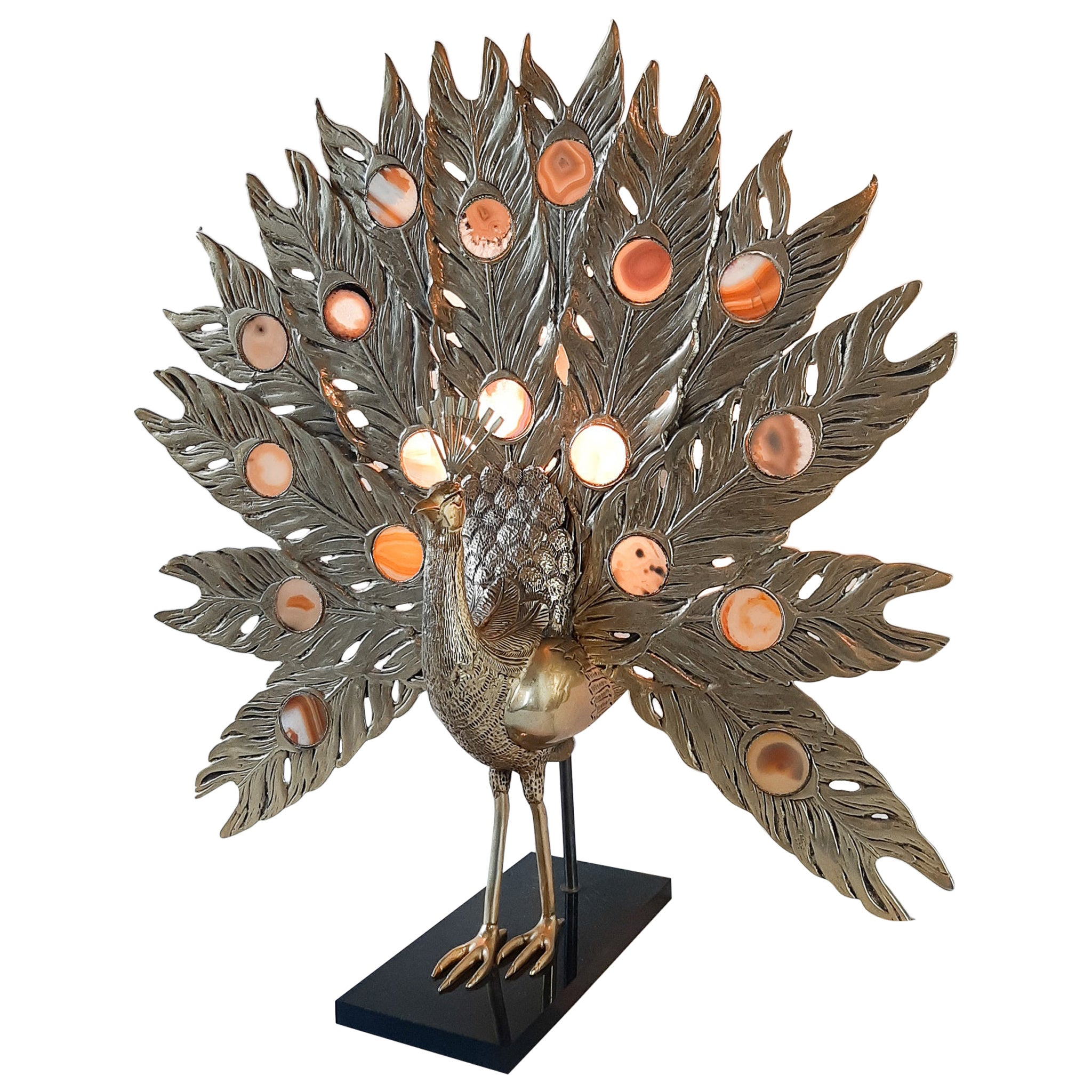 Willy Daro Peacock Brass and Agate Table Lamp Sculpture 1970s, Large Model