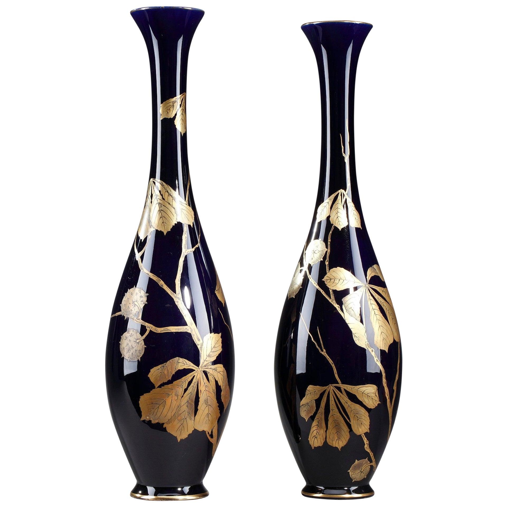 Late 19th Century Bleu de Tours Porcelain Vases by Gustave Asch