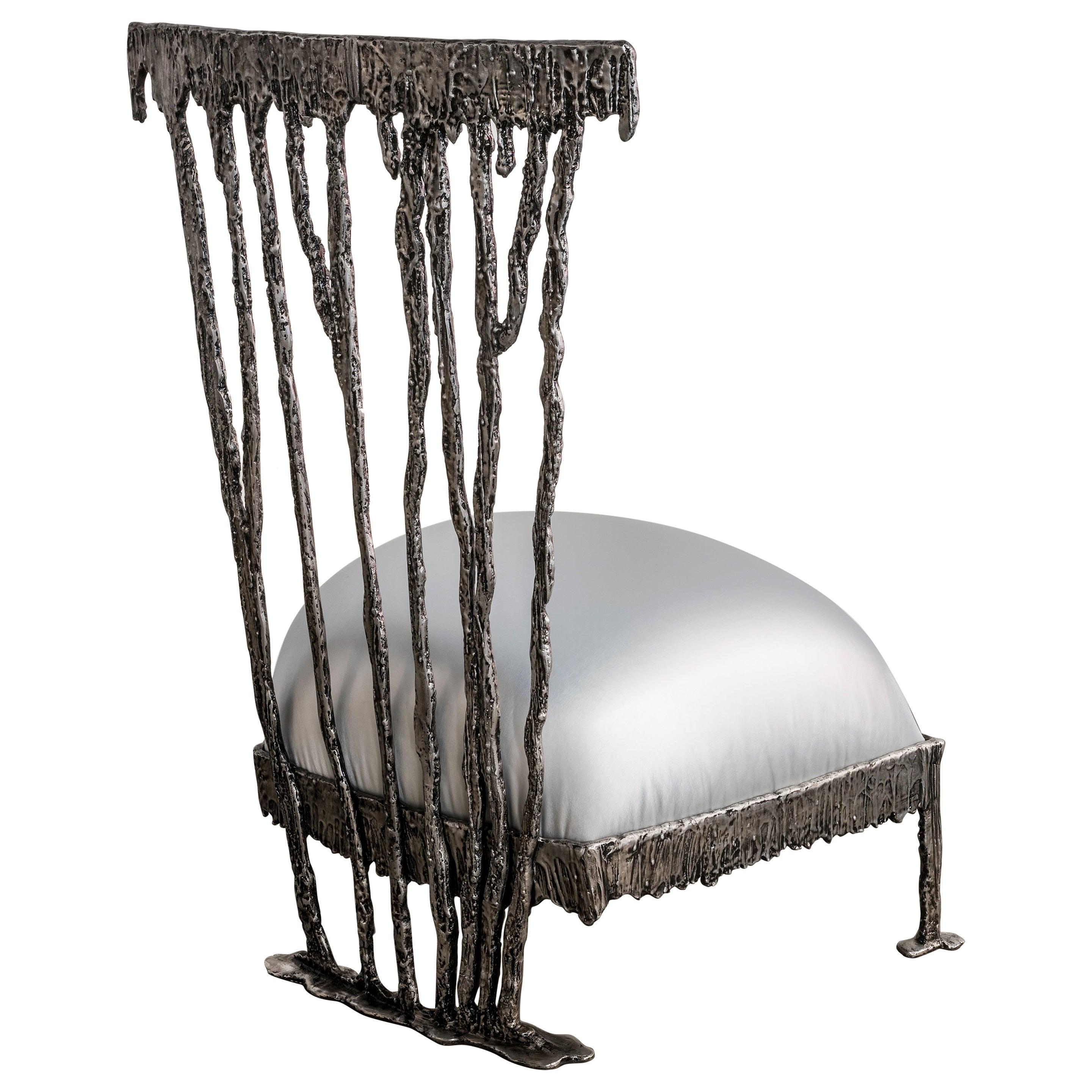 Italian Modern Annibale Oste for Dilmos Armchair Aluminium Cast Fabric