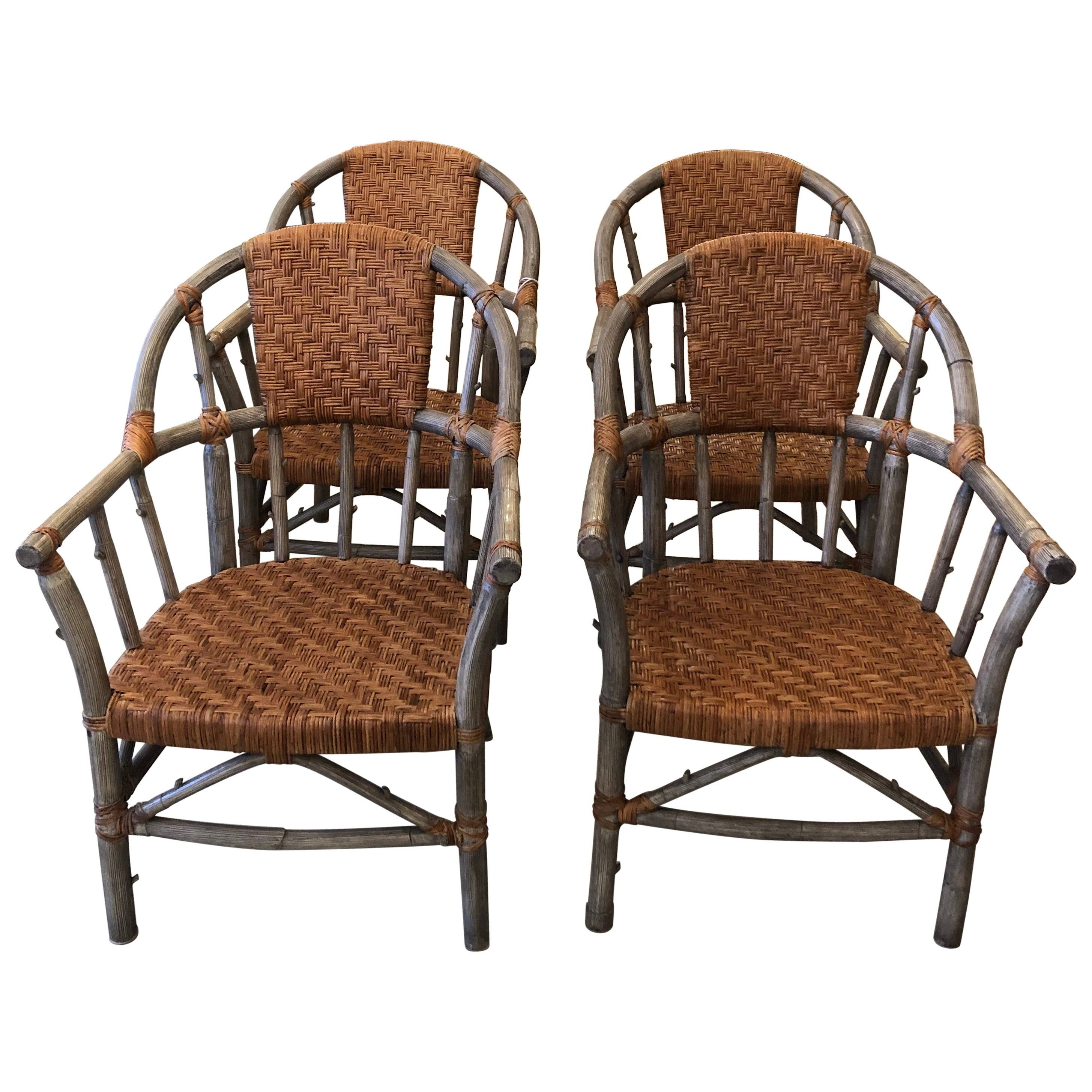 Stunning Set of 4 Faux Bois and Woven Rattan Captain Style Dining Chairs