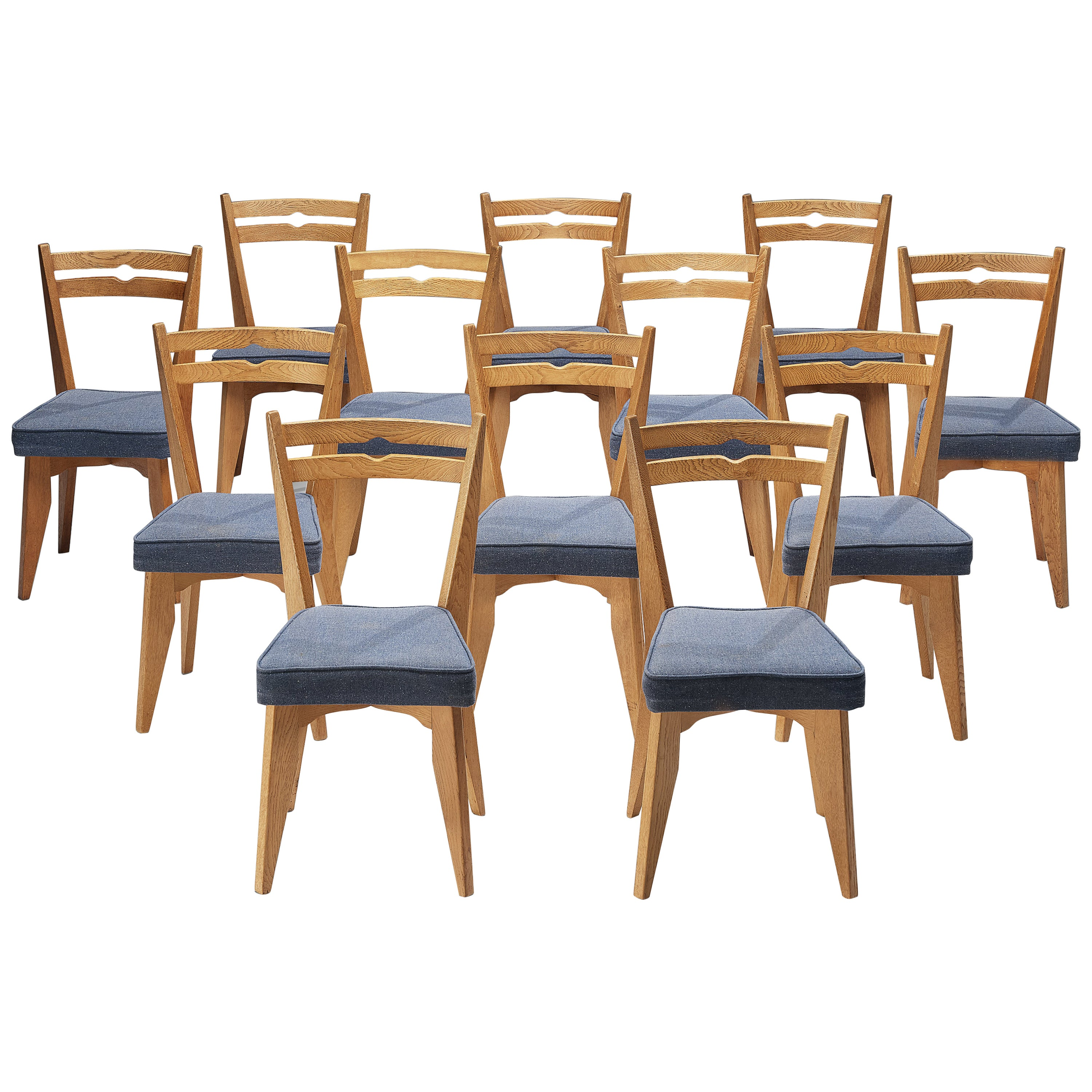 Guillerme et Chambron Set of 12 Dining Chairs in Oak