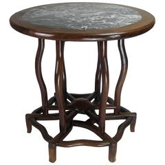 Chinese Hardwood Circular Table with a Marble Top
