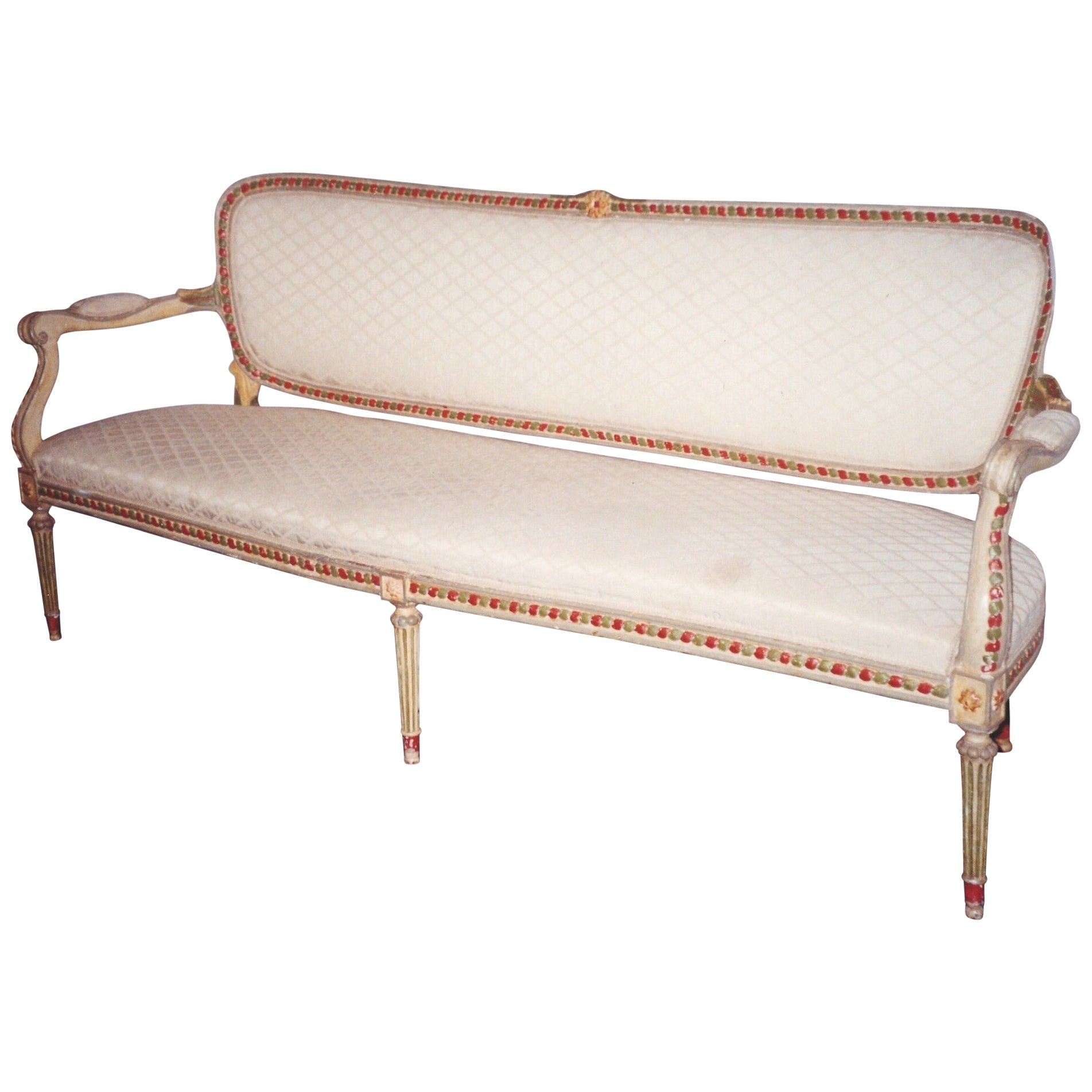 Elegant Nord Italian 18th Century Painted Sofa or Canapè