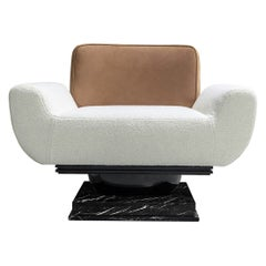 21st Century Modern Armchair Bouclé, Leather Upholstered & Nero Marquina Marble