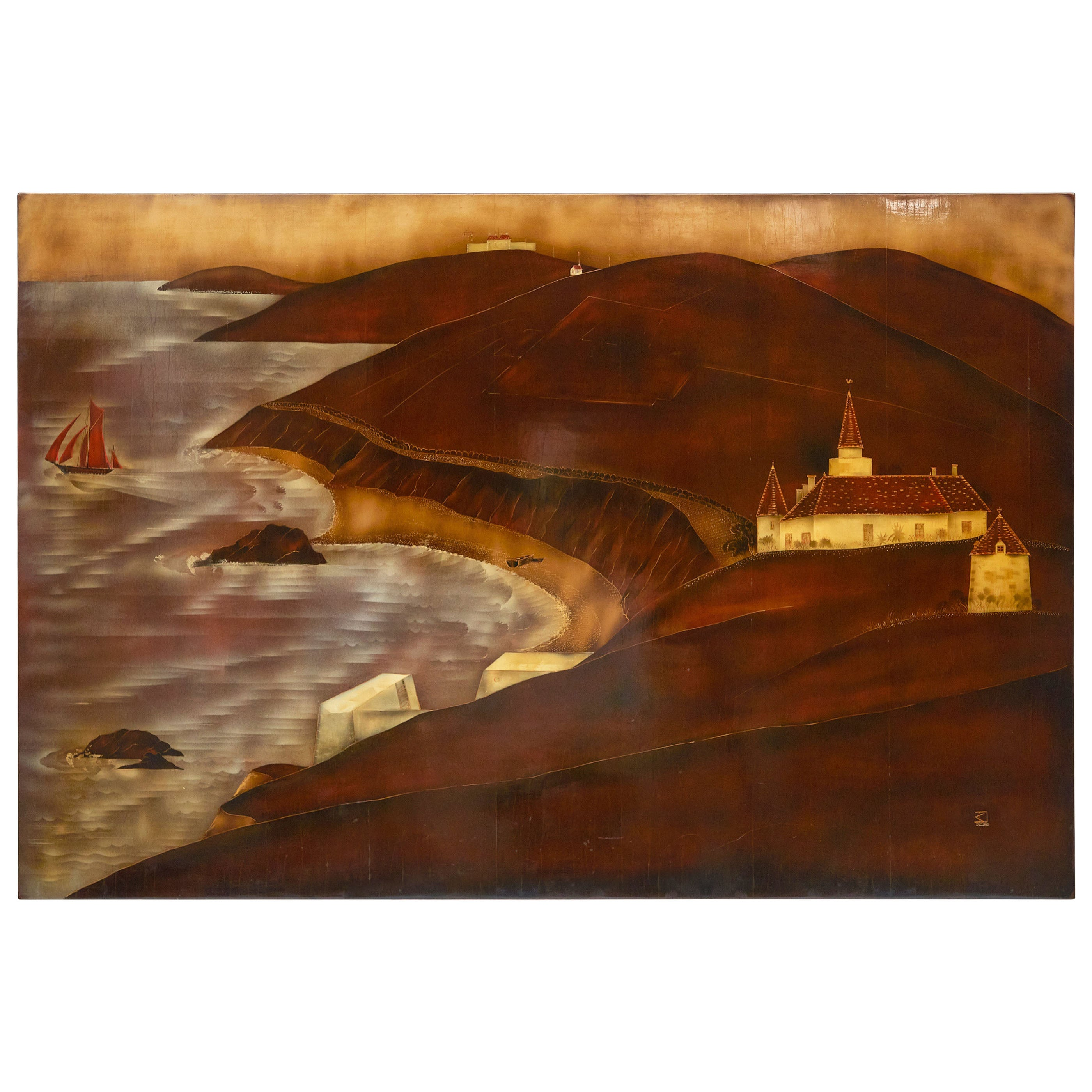 André Ducuing, Lacquered Art Deco Panel, France, circa 1920