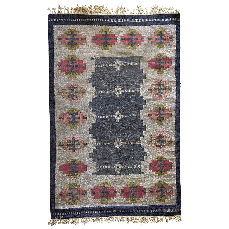 Karin Jönsson, Signed Flat-Weave Carpet, Dyed Wool, Sweden, 1950s