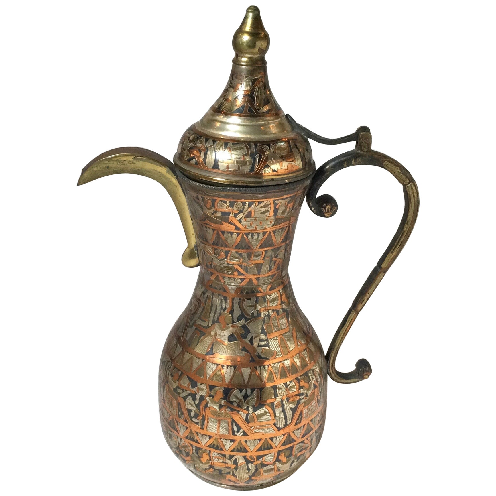 Anglo Indian Egyptian Revival Ewer Pitcher