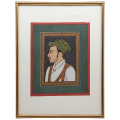 Early 19th Century Hand Painted Gouache Portrait of Rajasthan Dignitary