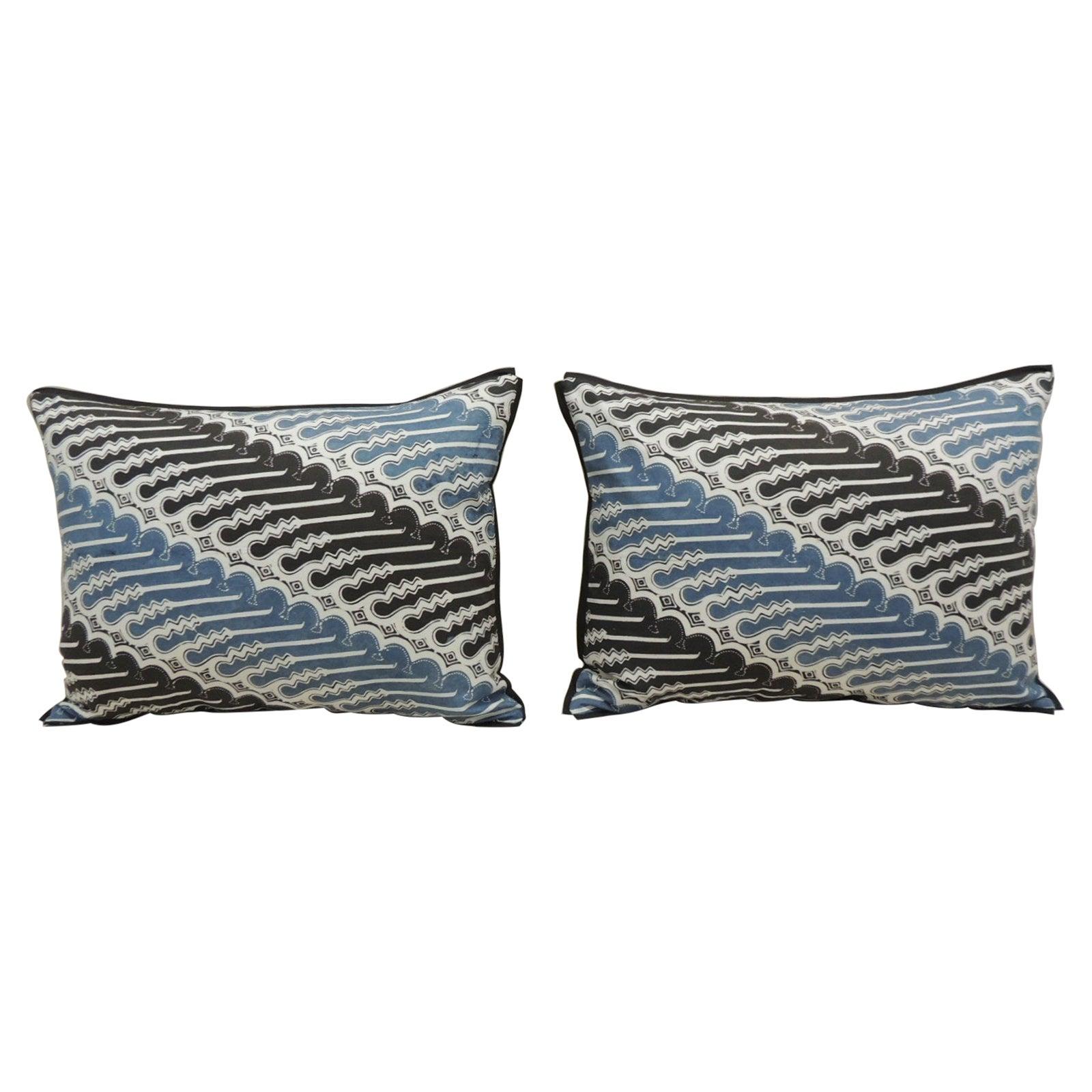 Pair of Vintage Blue and Black Hand-Blocked Batik Decorative Bolster Pillows