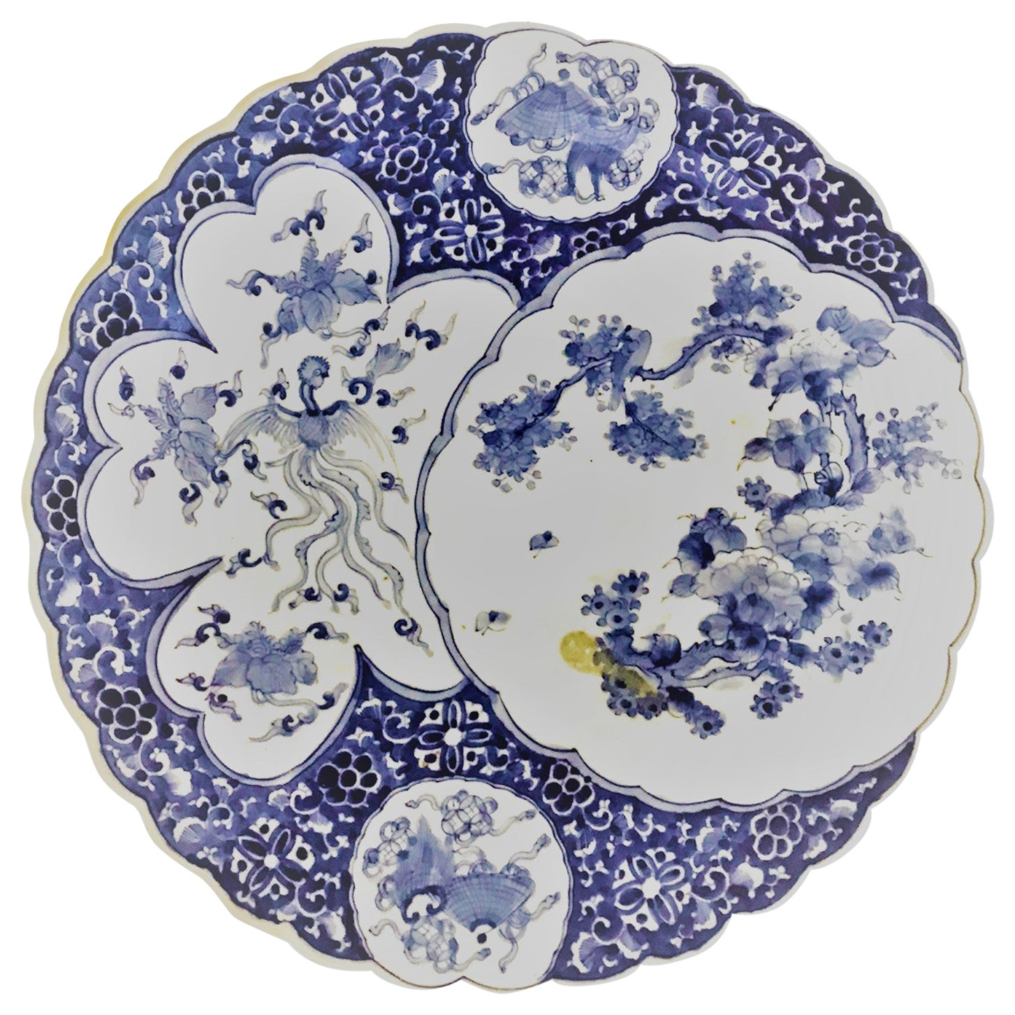 Japanese Meiji Blue and White Scalloped Charger with Fans, Phoenix and Birds