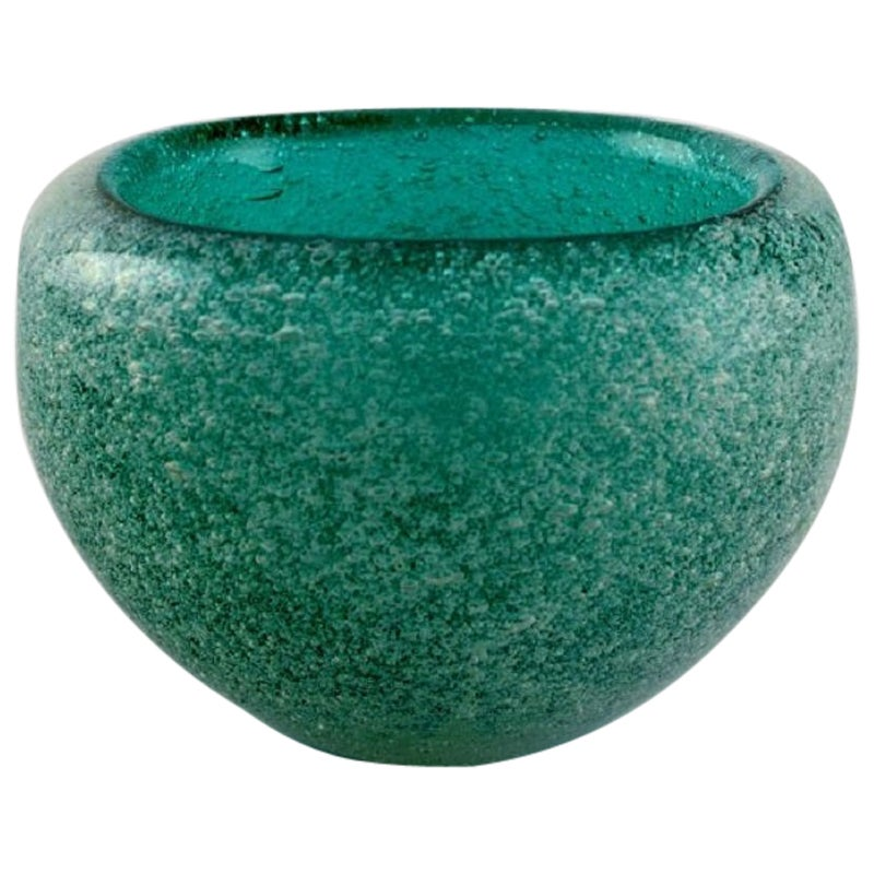 Murano Bowl in Turquoise Mouth Blown Art Glass with Inlaid Bubbles