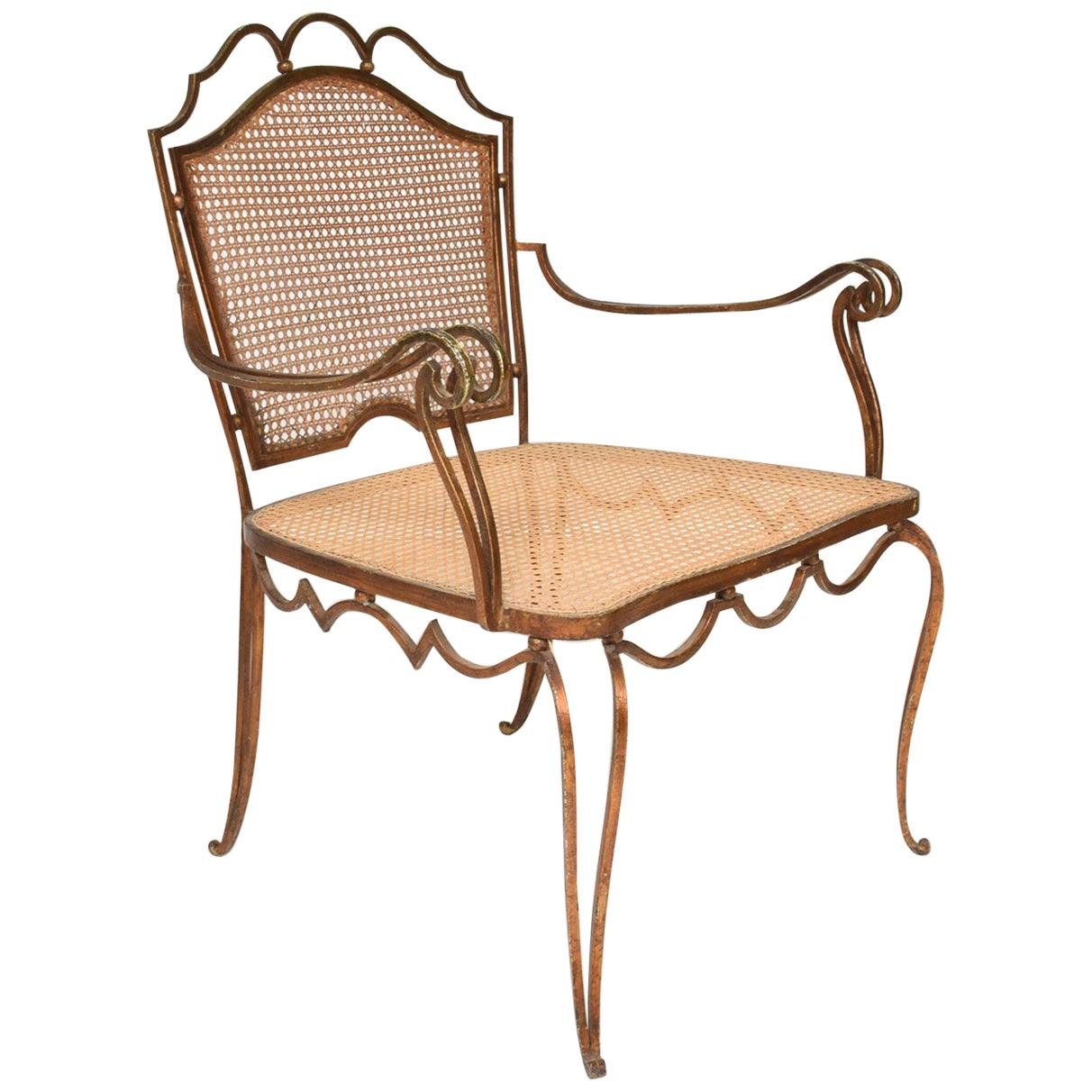 Fanciful Regency Armchair by Arturo Pani in Forged Gilt Iron & Woven Cane 1940s