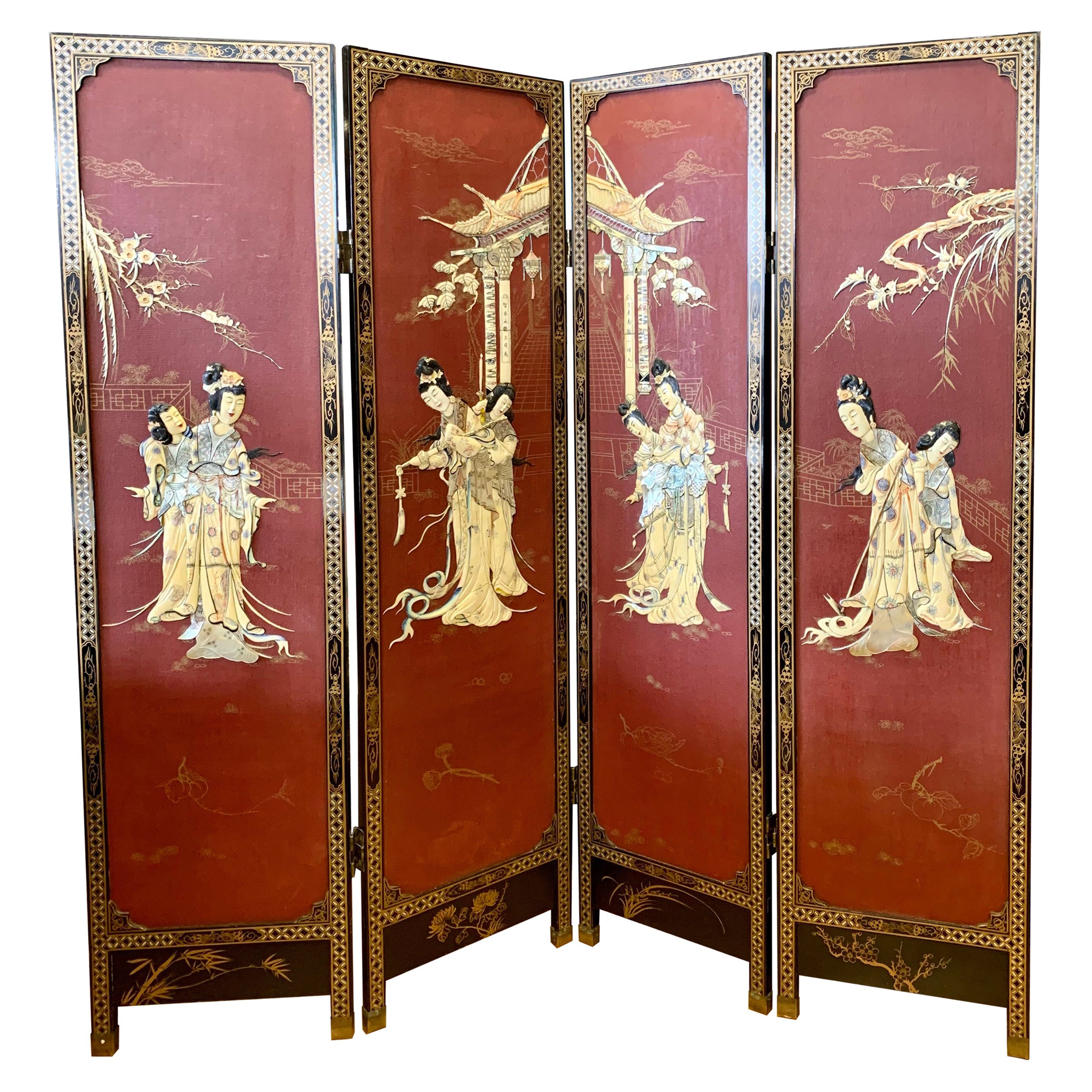 Asian Red Four Panel Carved Room Divider Screen