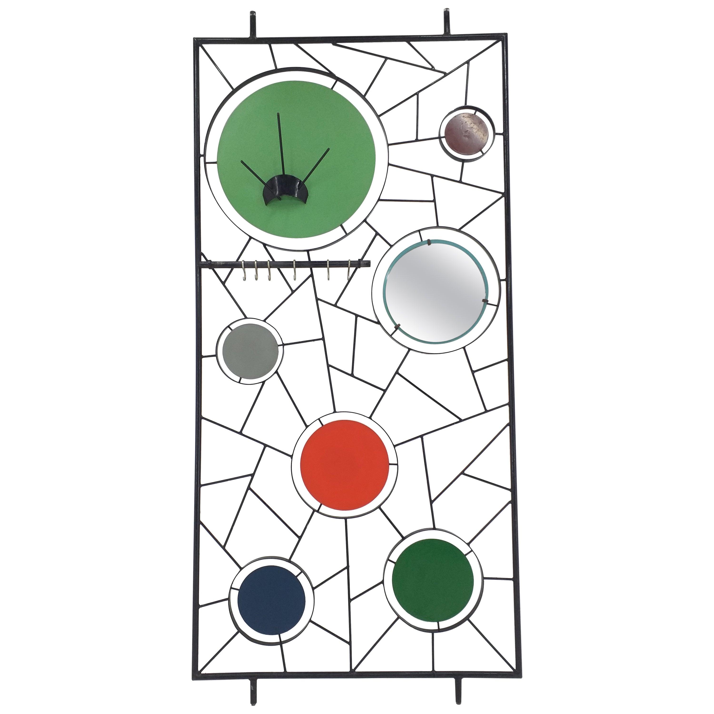 Midcentury Wall Coat Rack with Mirror, Italy, 1960s