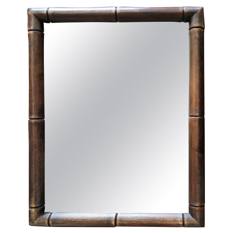 Italian Hollywood Regency Faux Bamboo Wooden Frame Wall Mirrors