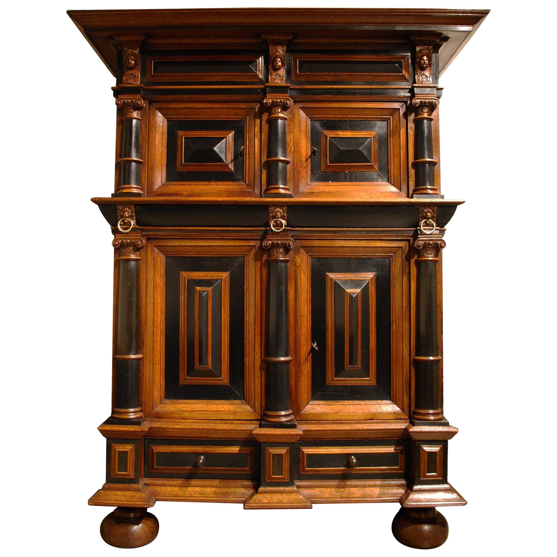 Antique 17th Century Oak Dutch Baroque Cushion Cabinet with Ebony and Mahogany