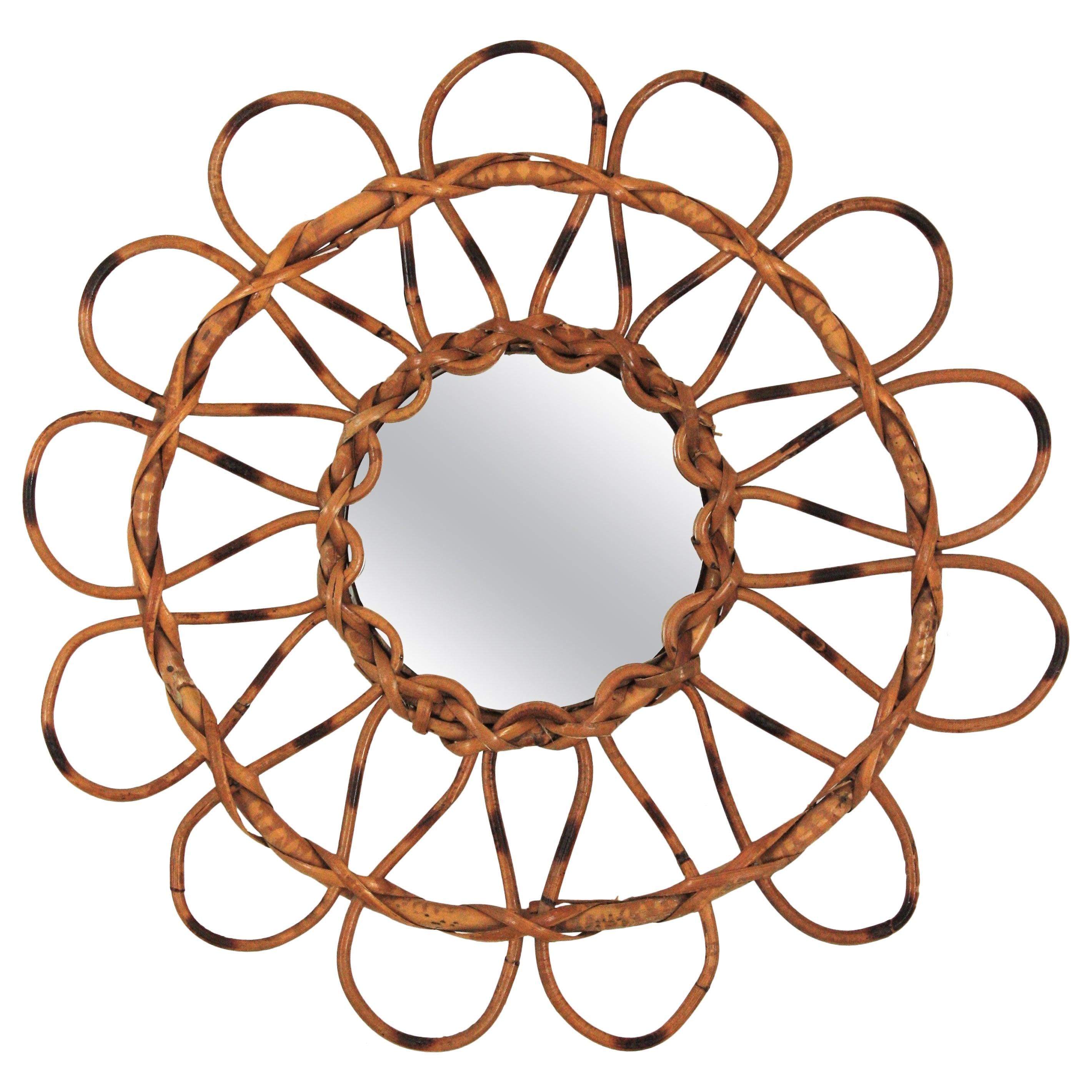 Rattan Sunburst Flower-Shaped Mirror