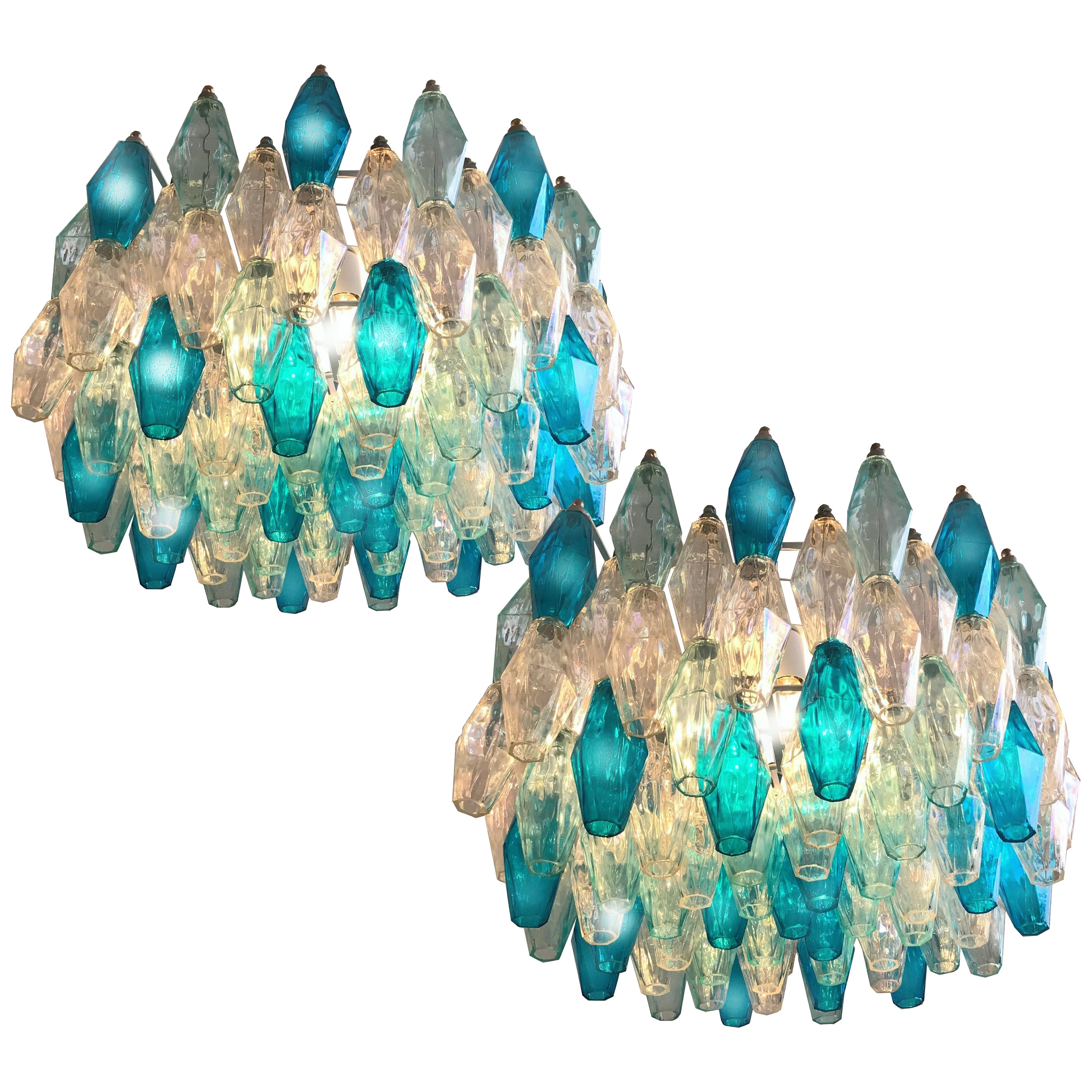 Pair of Murano Glass Poliedri Colored Chandeliers