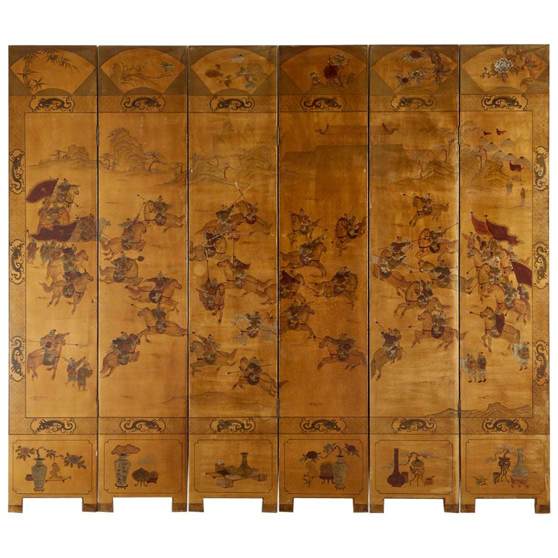 Chinese Export Six-Panel Gilt Lacquered Coromandel Screen