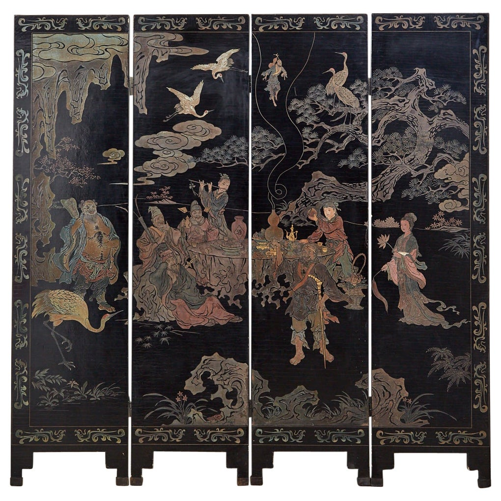 20th Century Chinese Four-Panel Coromandel Screen Immortals