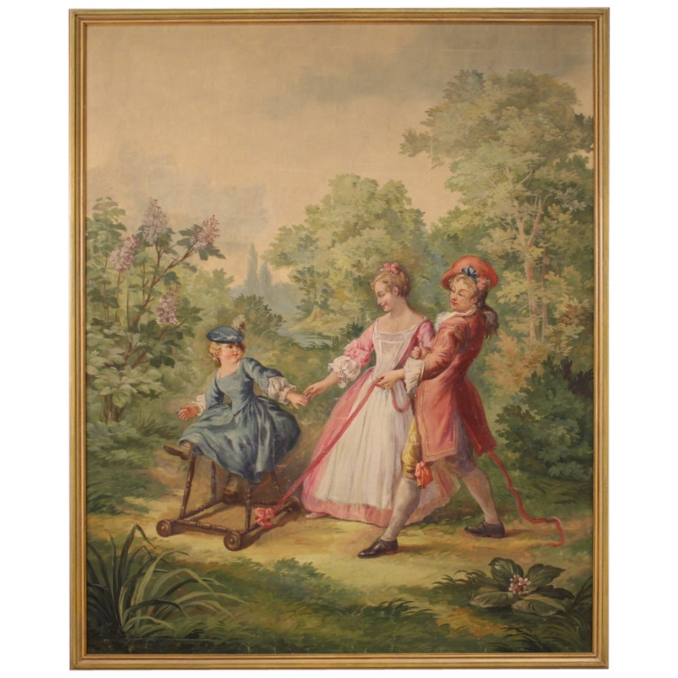 Romantic Italian Painting Walk in the Park, 20th Century