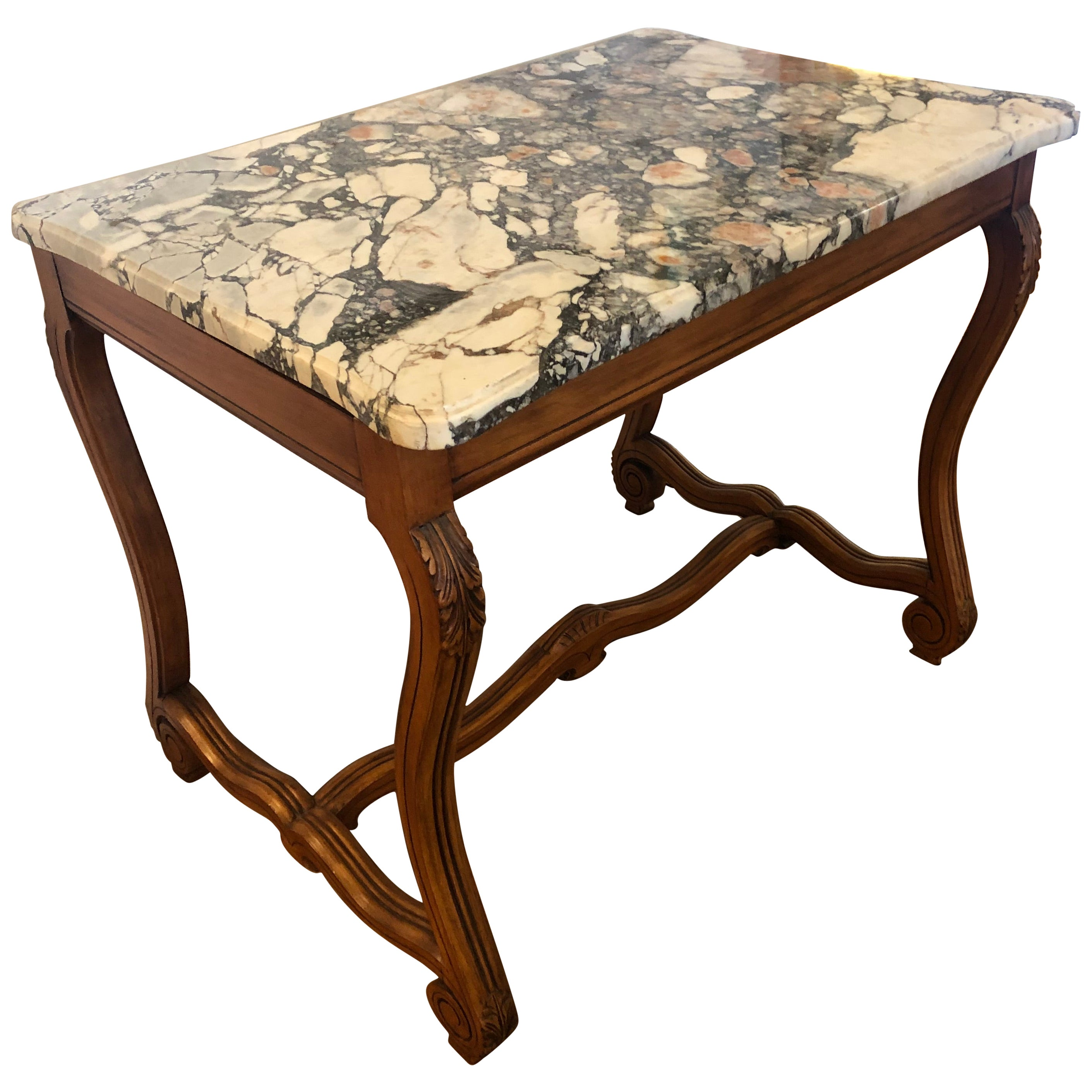 Versatile French Walnut and Marble Center Table Writing Desk