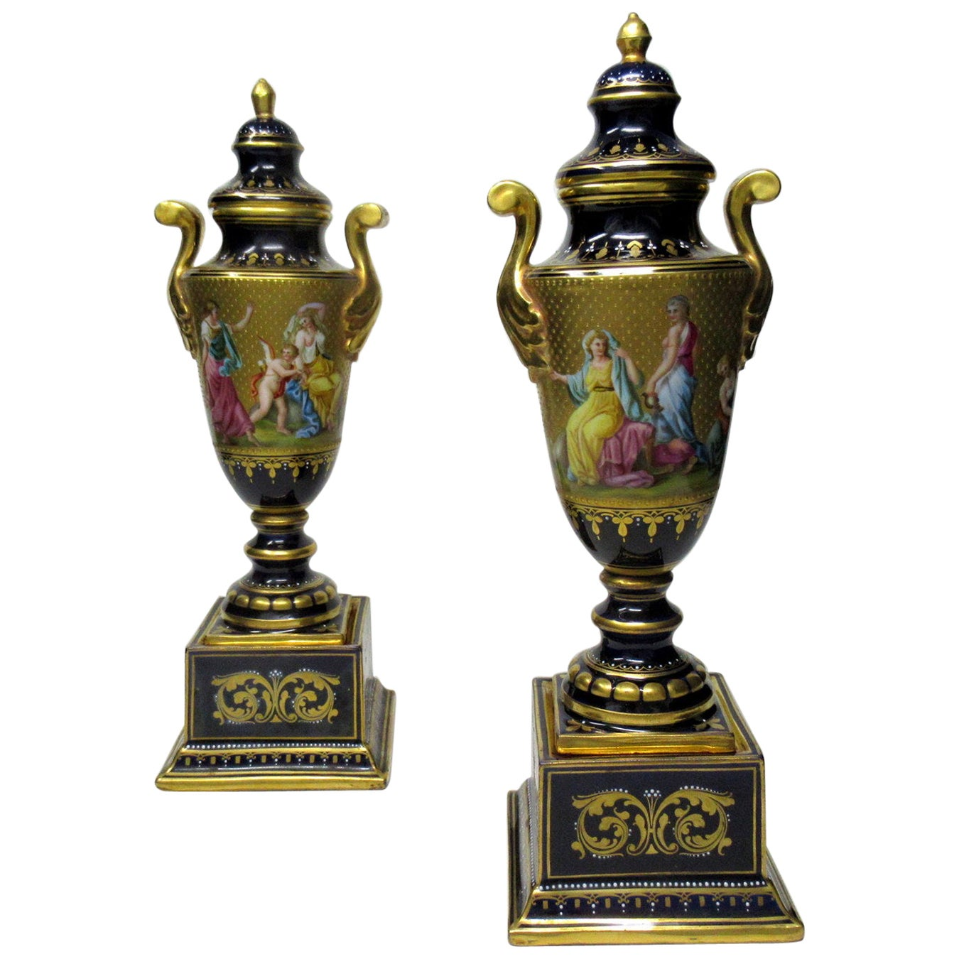 Antique Austrian Royal Vienna Mythological Themed Hand Painted Vases Urns Pair