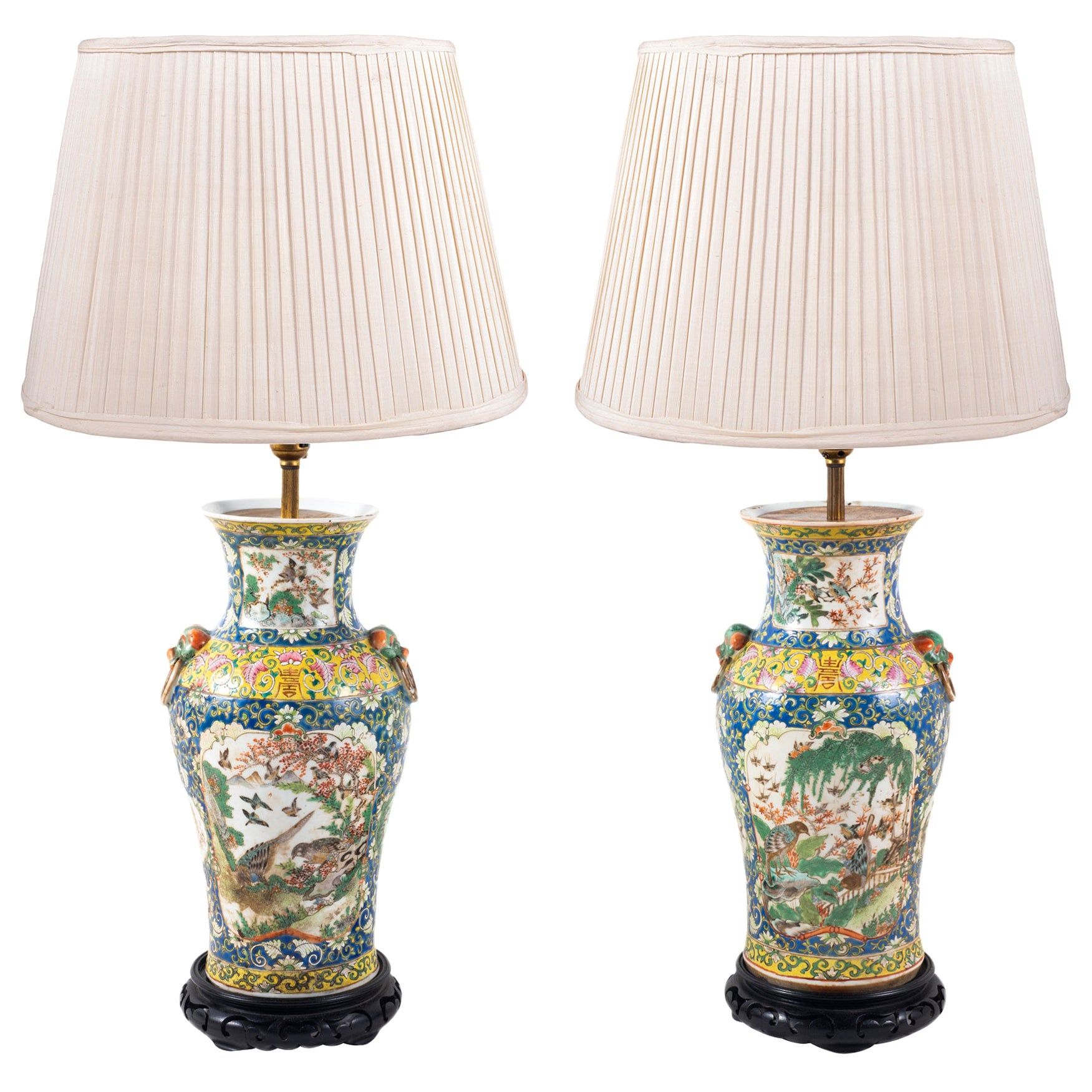 Pair of 19th Century Chinese Cantonese Porcelain Vases Lamps