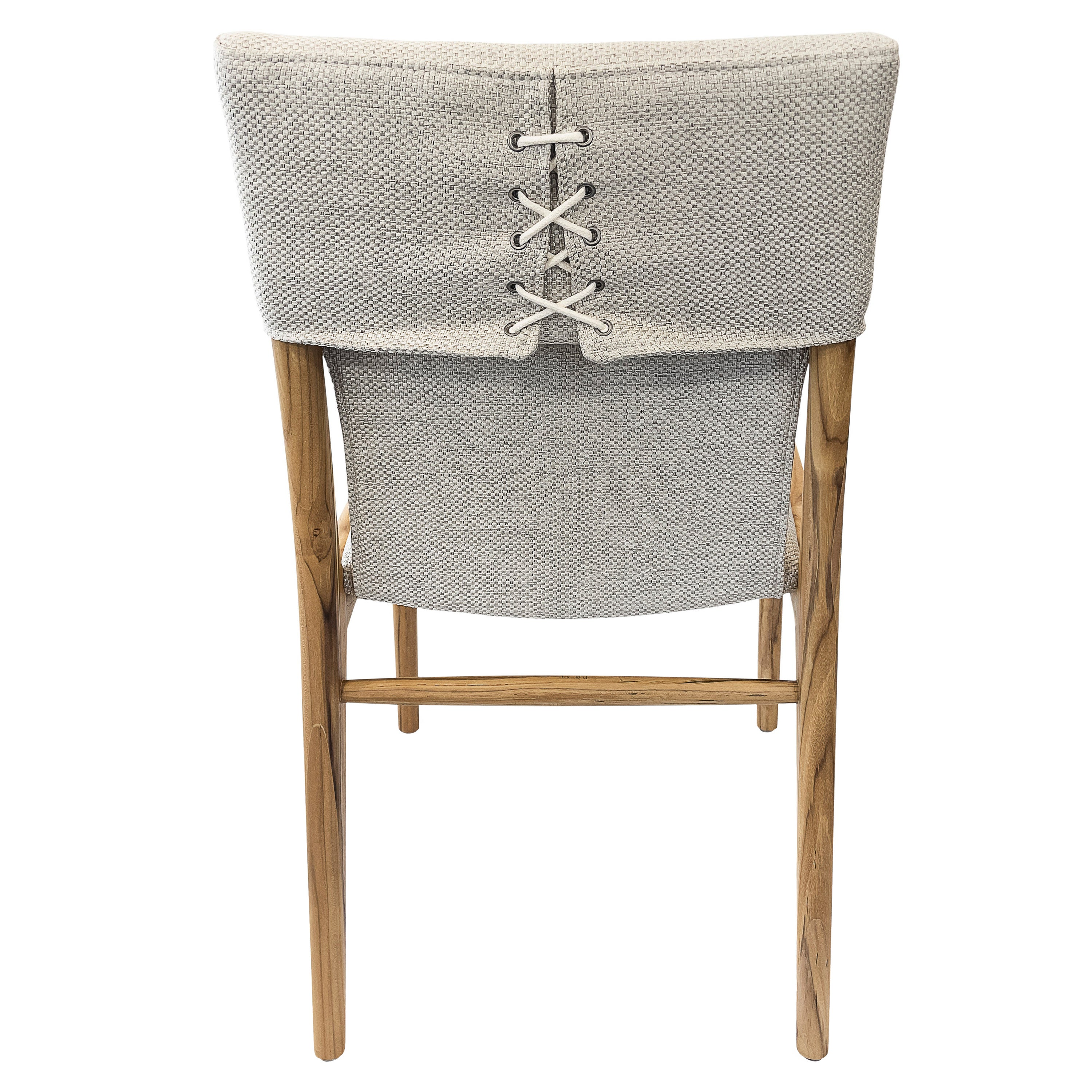 Tress Dining Chair in Light Fabric and Teak Finish