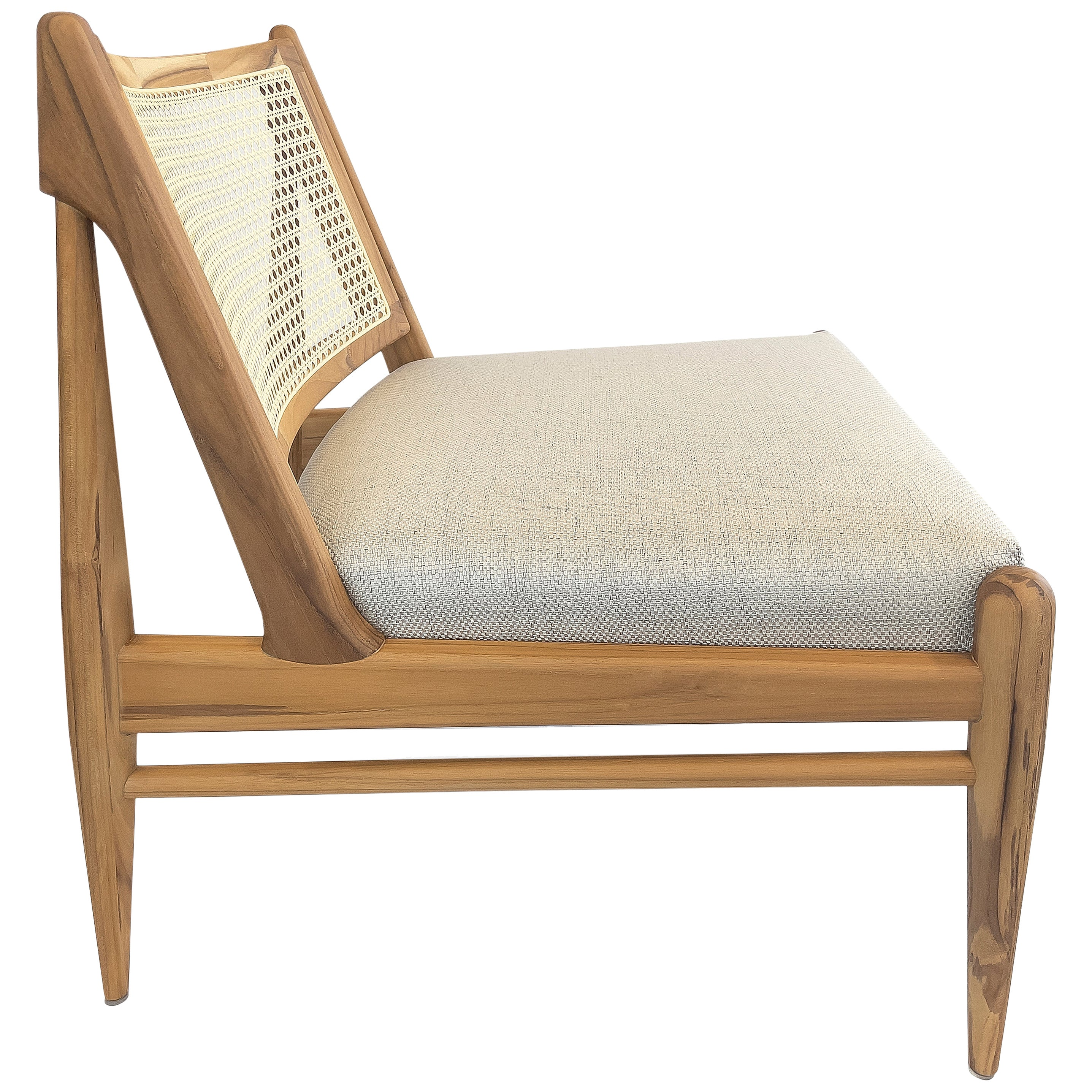 Donna Cane-Back Armchair in Teak Finish with Light Fabric Seat