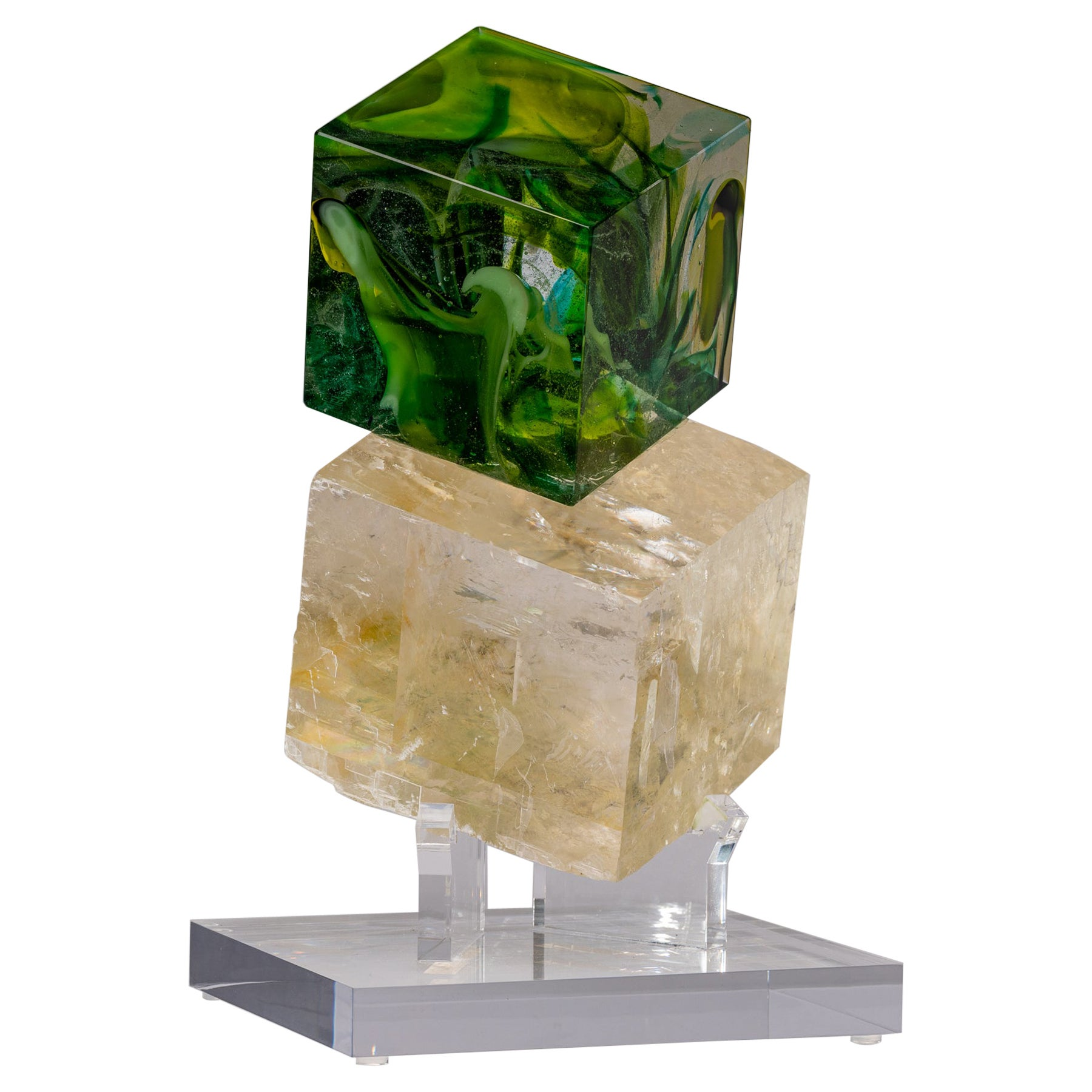 Optical Calcite and Boiled Glass Fusion Sculpture on Acrylic Base