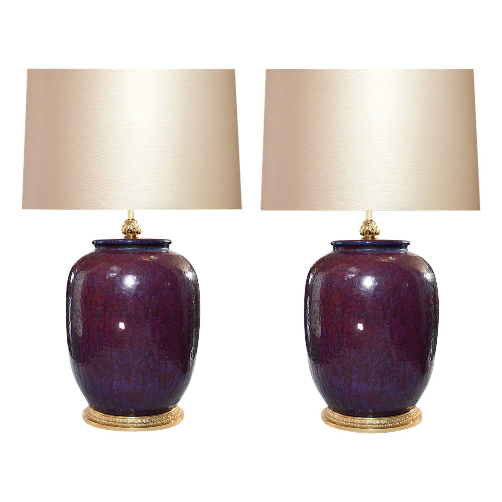 Pair of Copper Red Porcelain Lamps