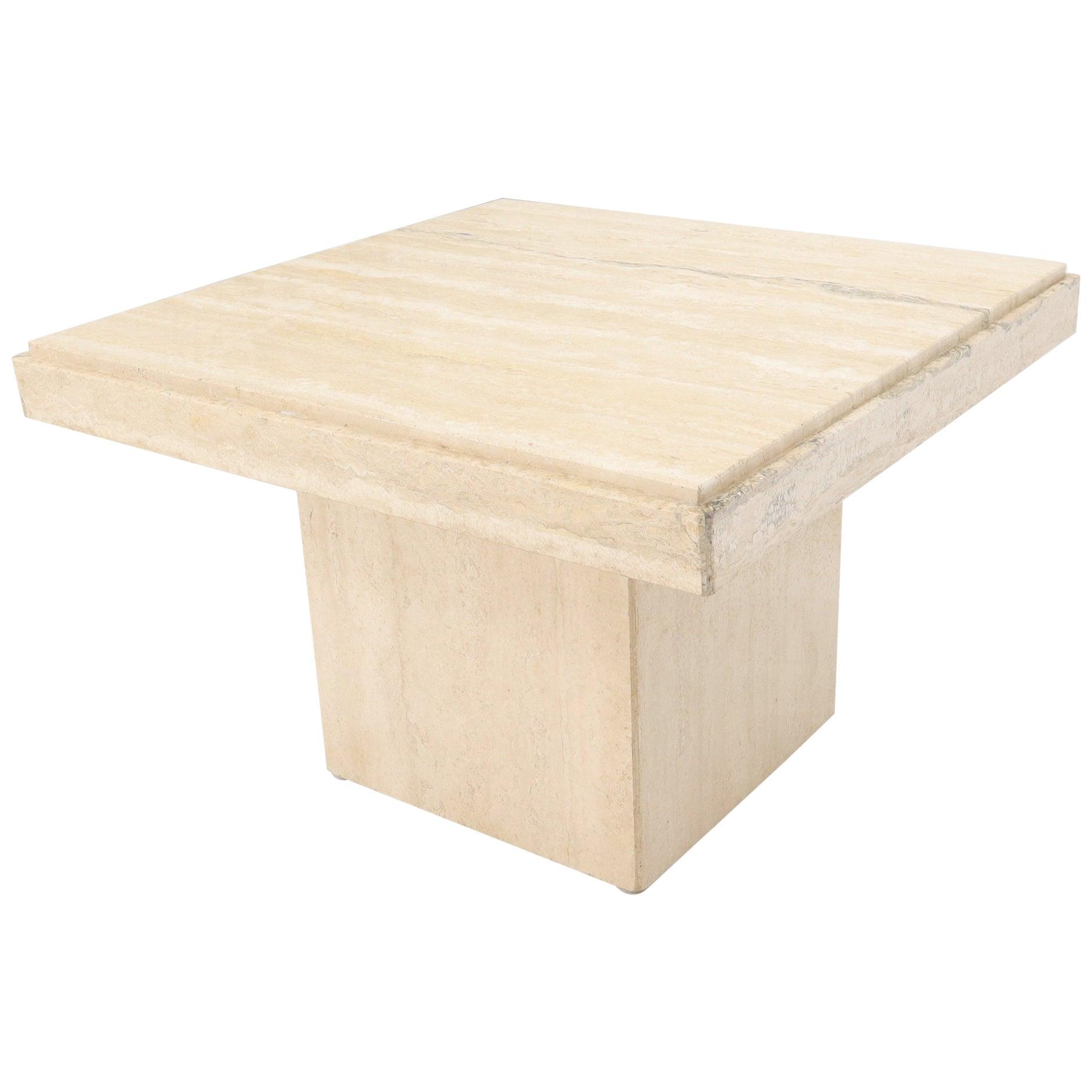 Square Italian Mid-Century Modern Travertine Side Table