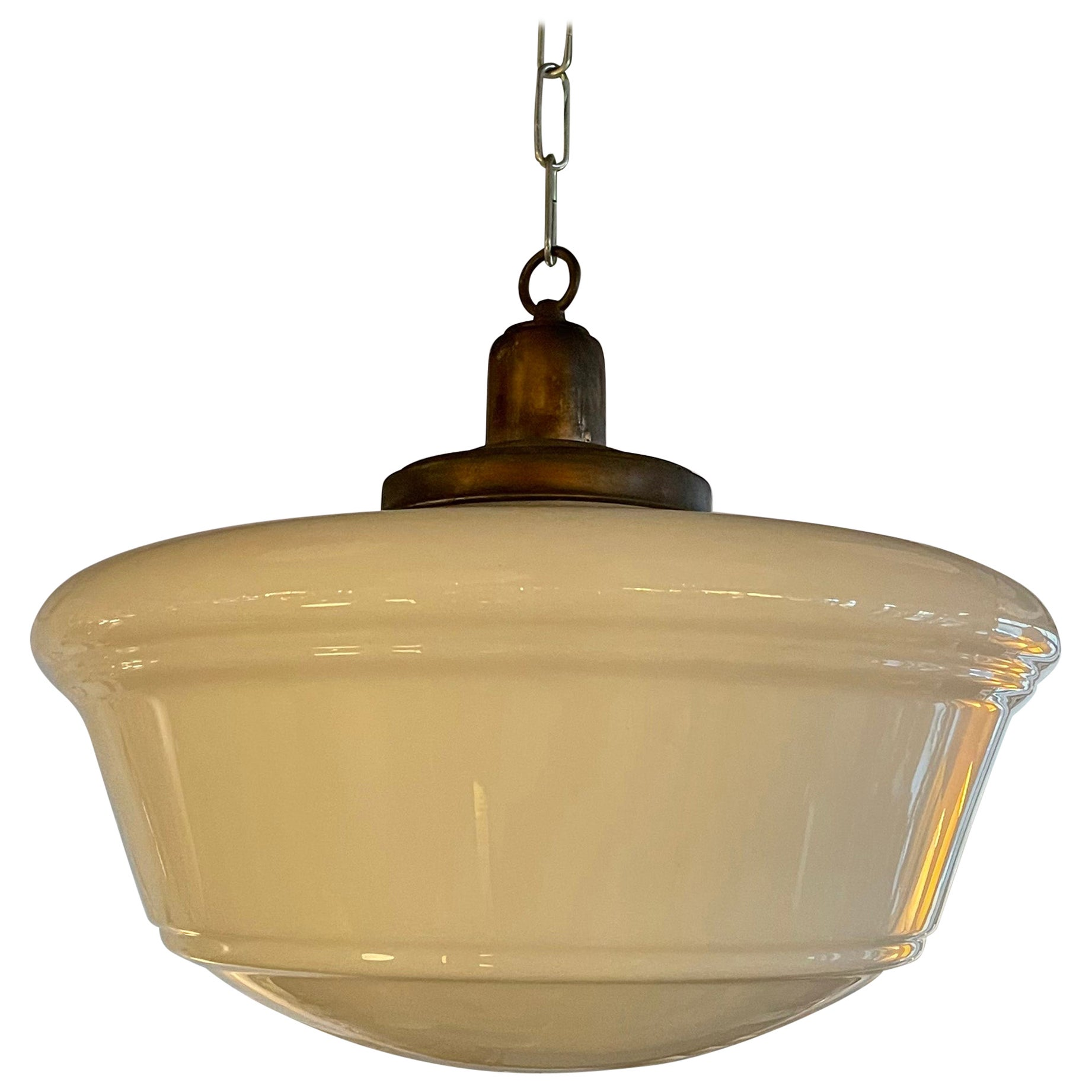 Art Deco Milk Glass and Brass Library Pendant Light
