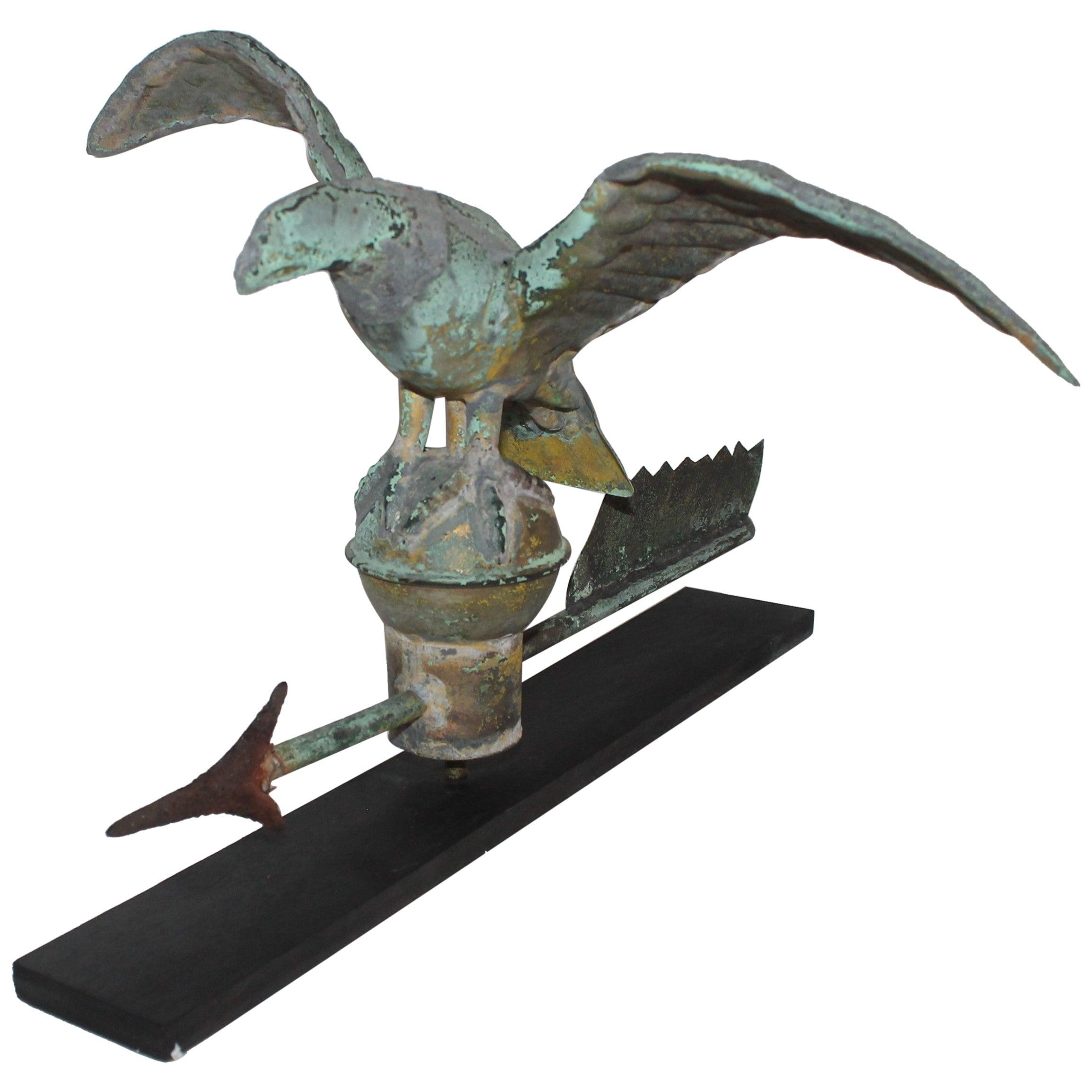 19th Century Mini Eagle Weather Vane on Stand
