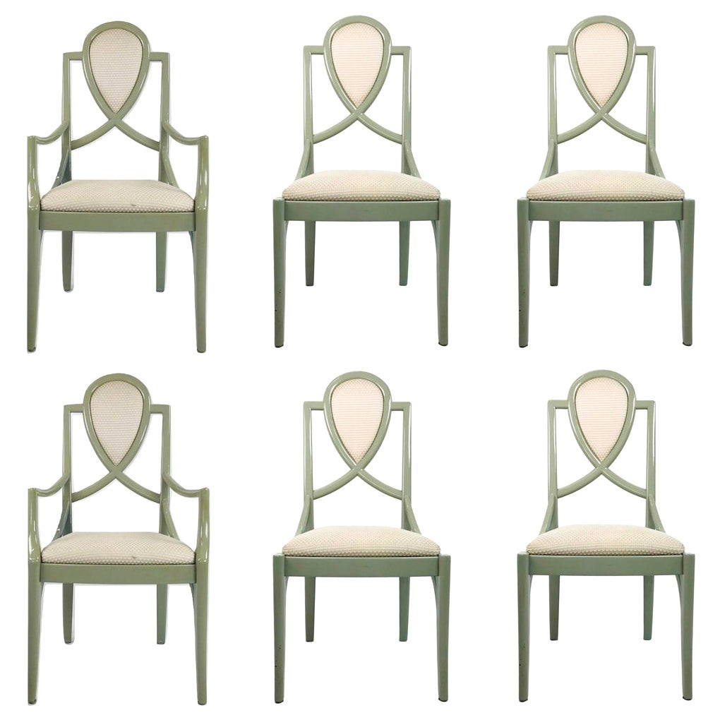Set of 6 1980s Gray Lacquered Dining Chairs
